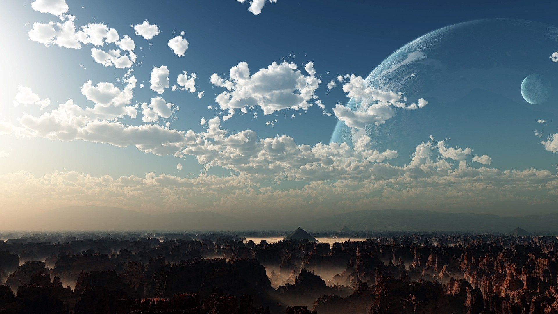 General clouds digital art planet Moon landscape rock formation  sunlight pyramid sky high view canyon