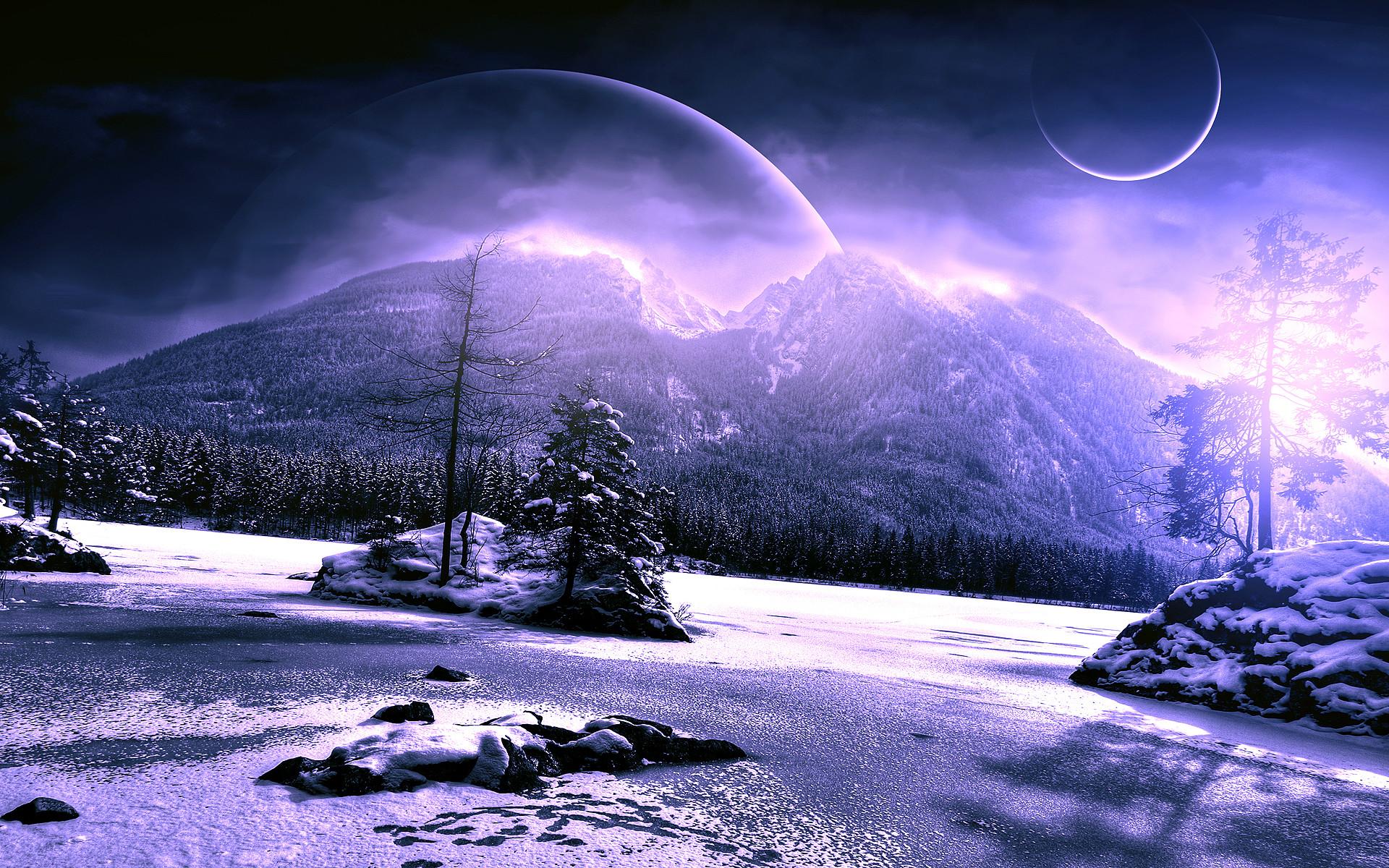 Snow Winter Trees Mountains Alien Landscape Planets Purple HD wallpaper  thumb