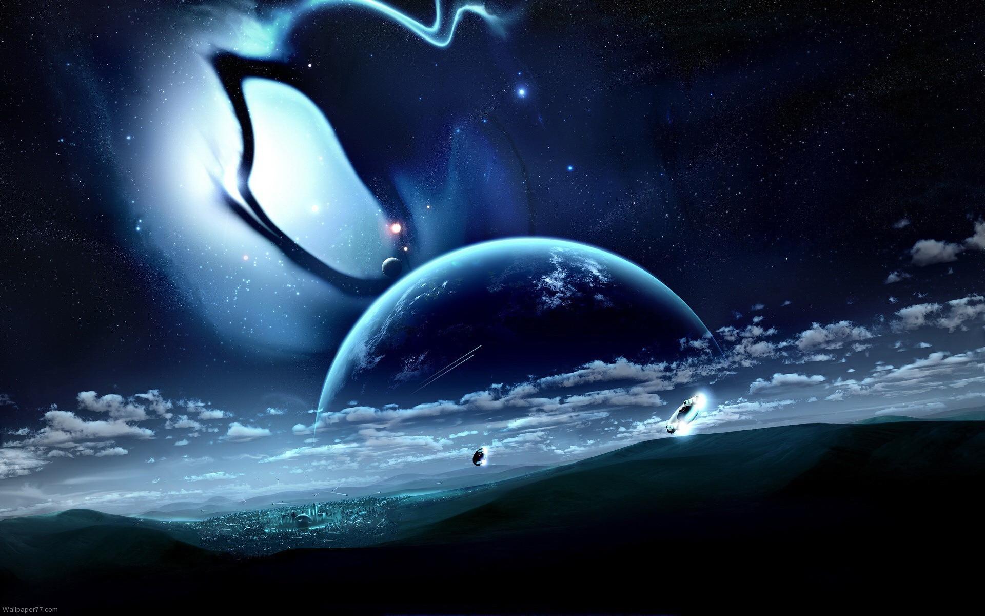 … Alien-City-Black-Earth-Orbit-Planet-Planet-Wallpapers- …