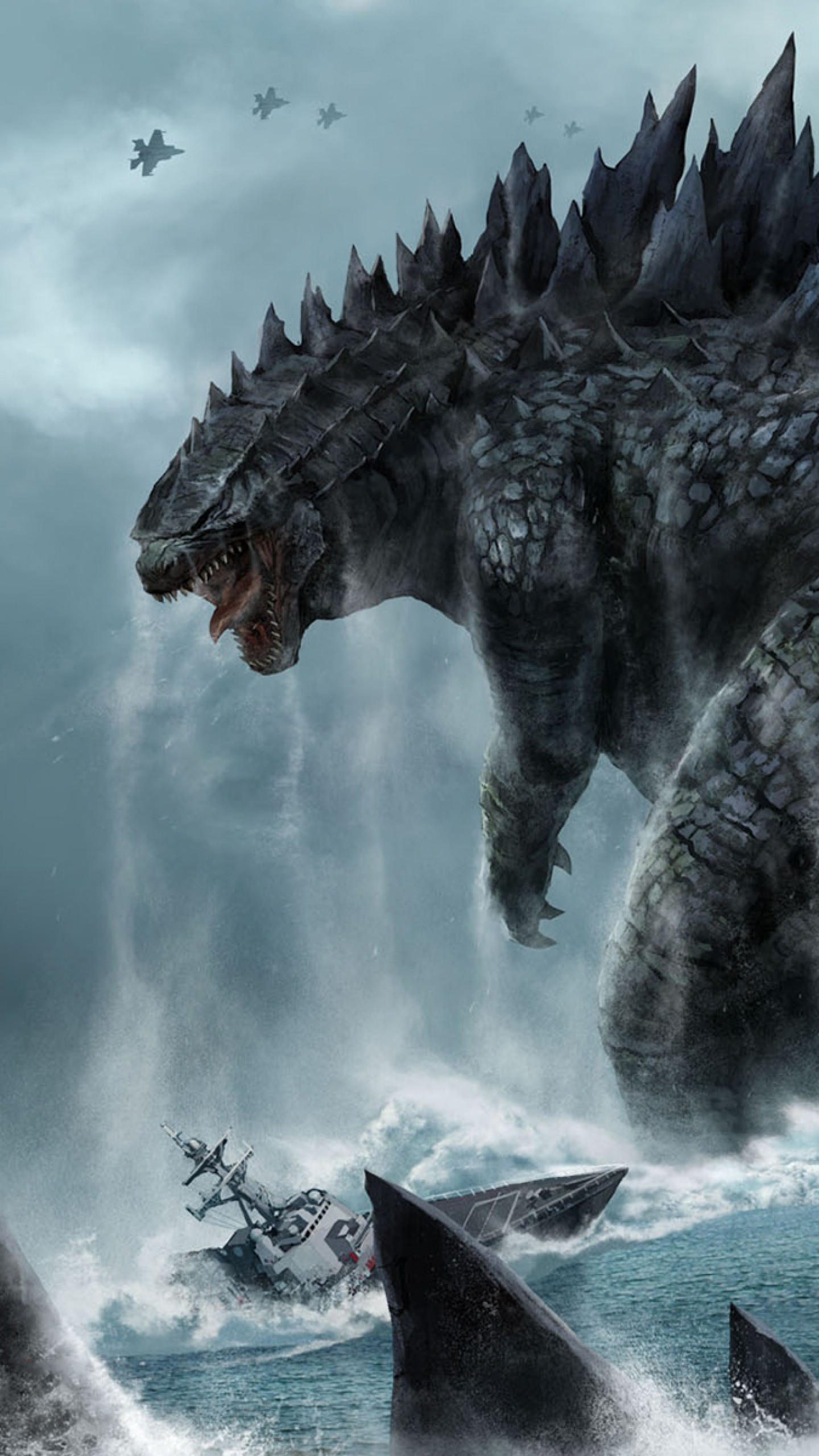 Preview wallpaper godzilla, monster, dinosaur, submarine, tail 1440×2560