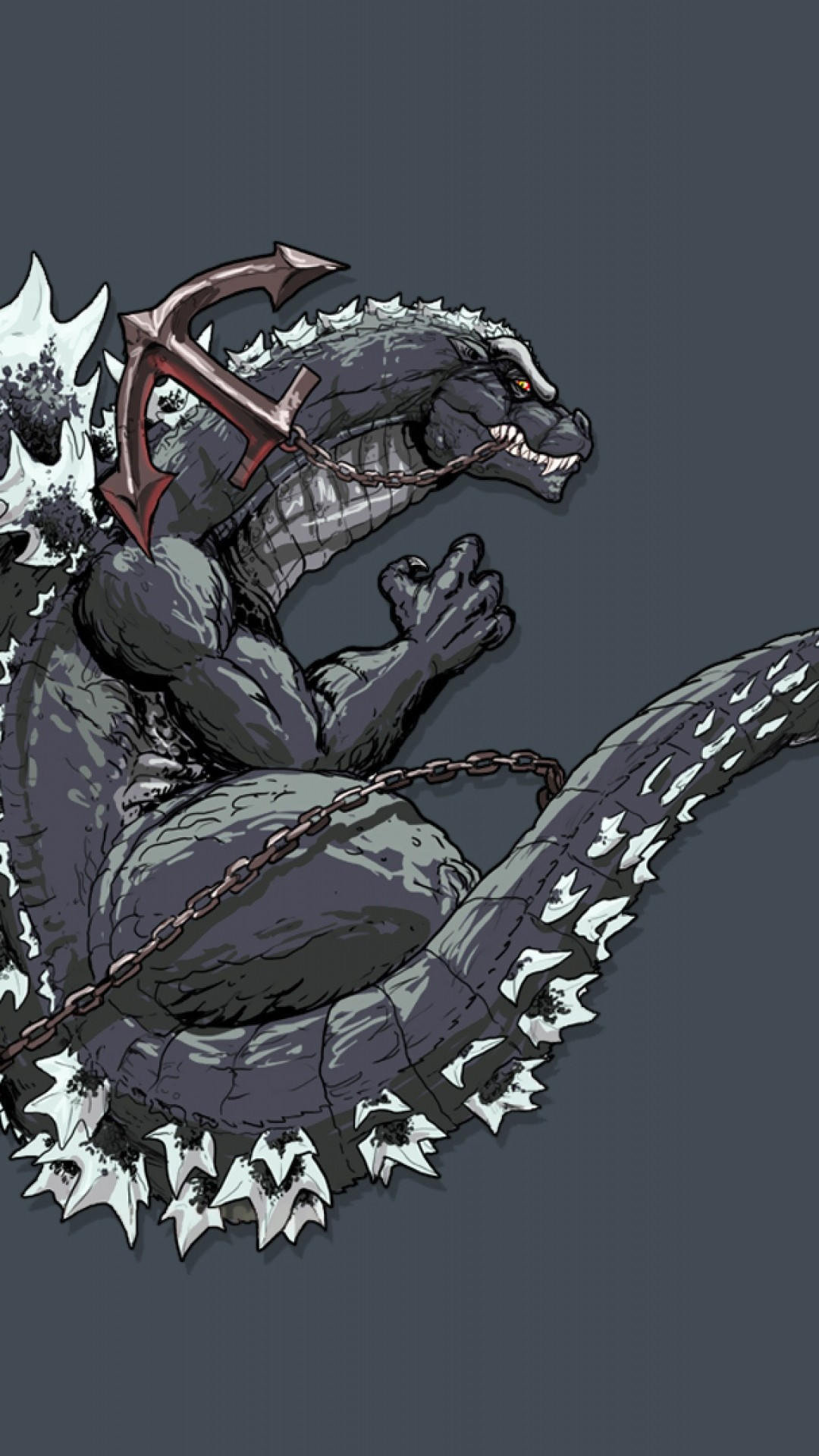 Preview wallpaper godzilla, monster, art, dinosaur, tail, anchor 1080×1920