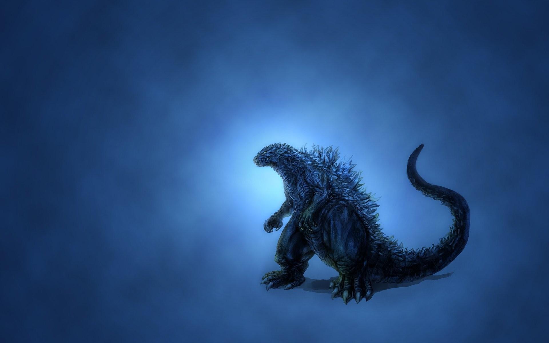 godzilla blue background dinosaur godzilla glow minimalism dusky