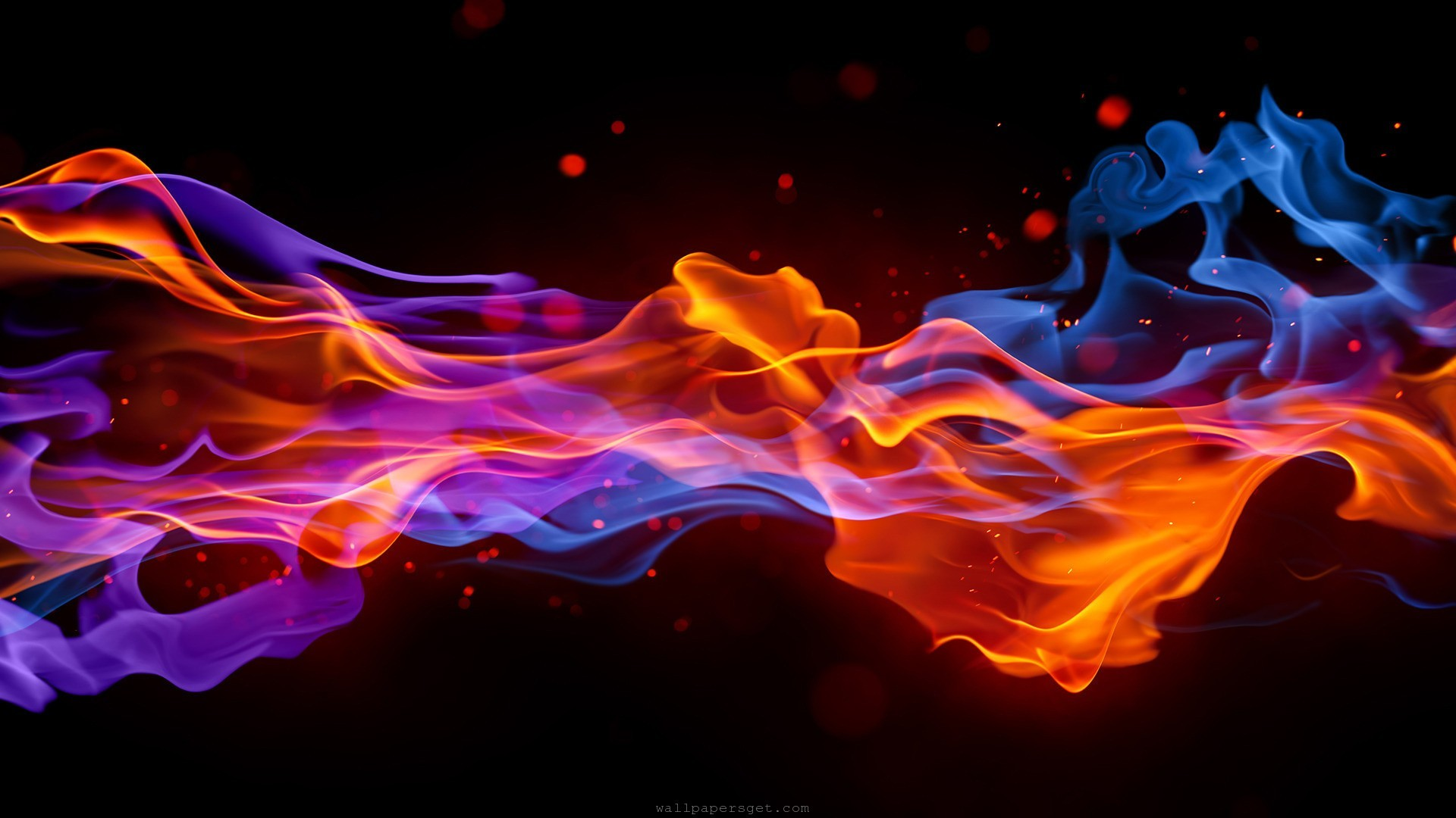 Abstract Smoke Fire Red Blue Wallpaper Hd
