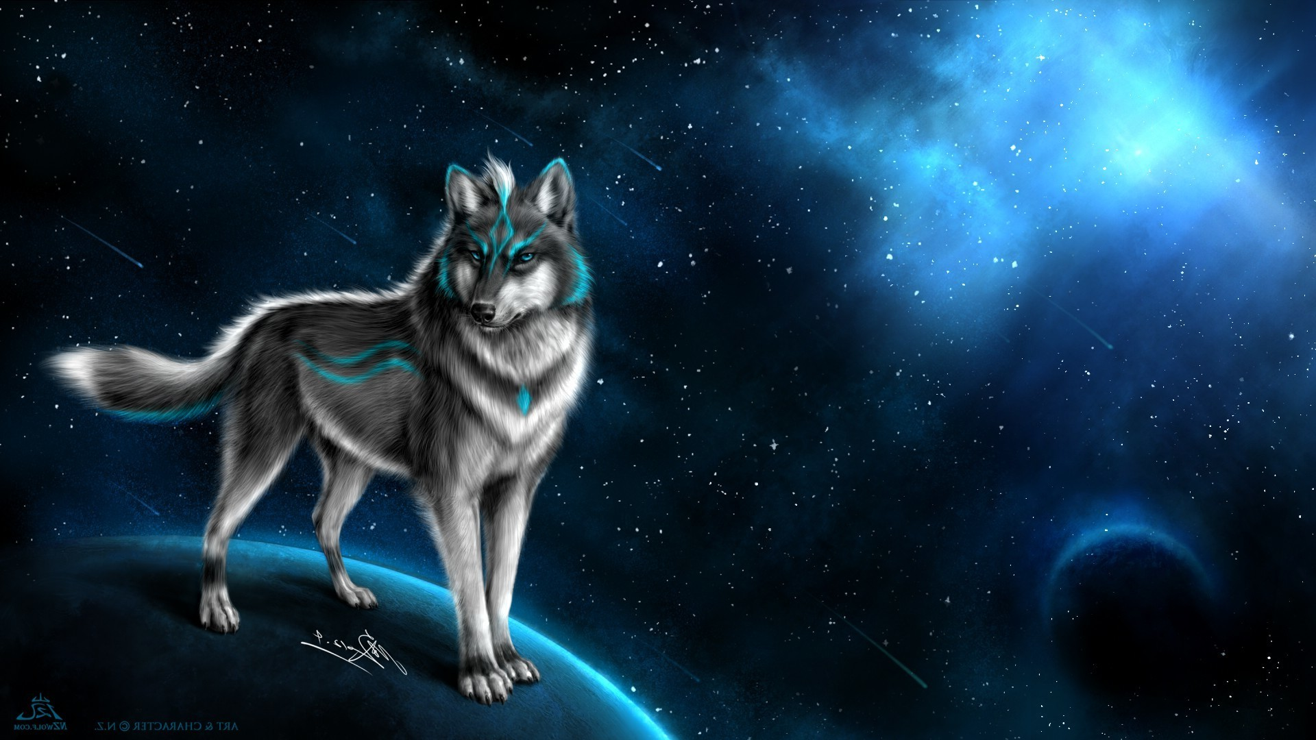 wolf fantasy art animals space art Wallpapers HD / Desktop and Mobile  Backgrounds