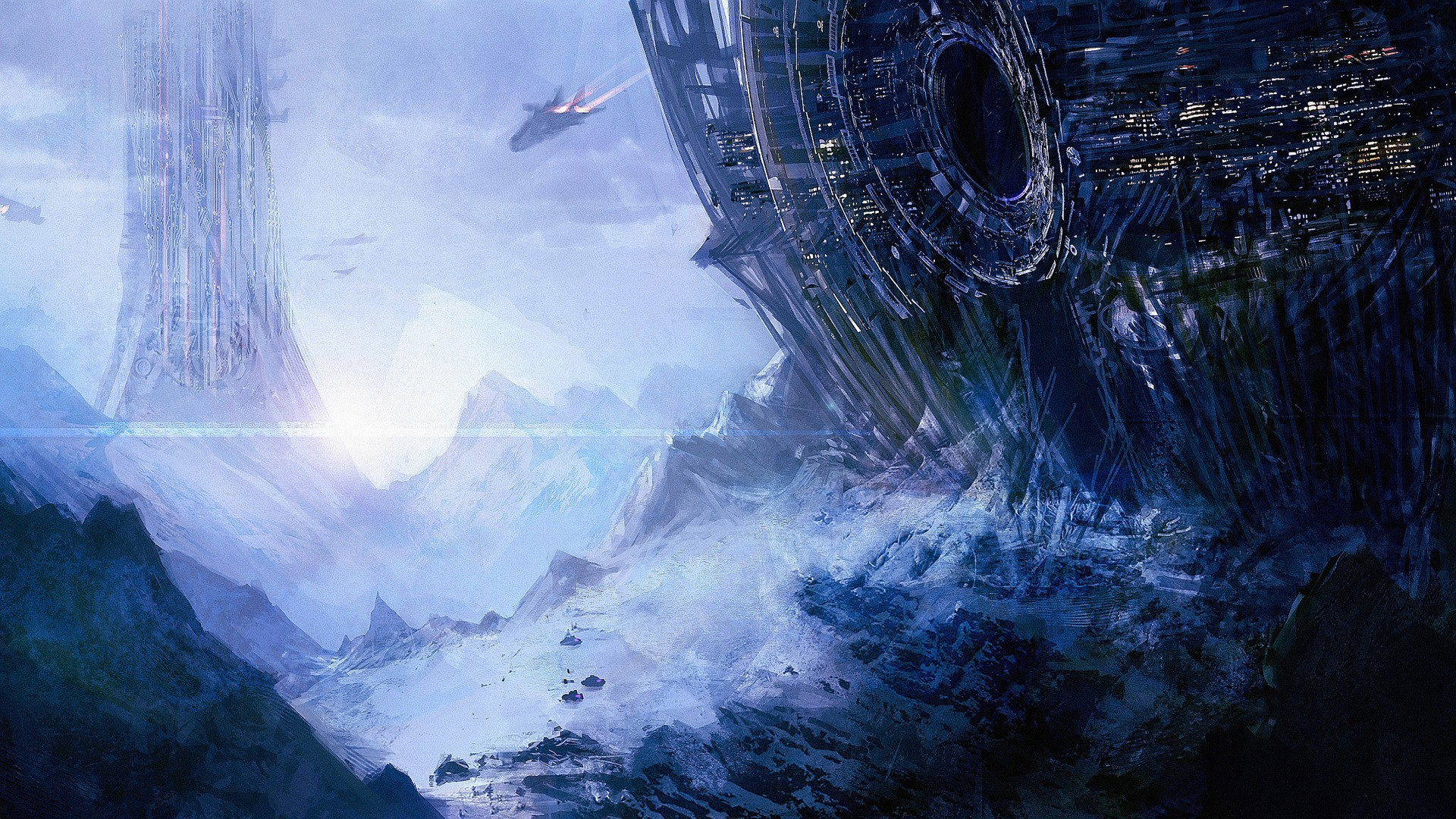 artwork, Spaceship, Planet, Concept Art, Fantasy Art, Space Wallpapers HD /  Desktop and Mobile Backgrounds