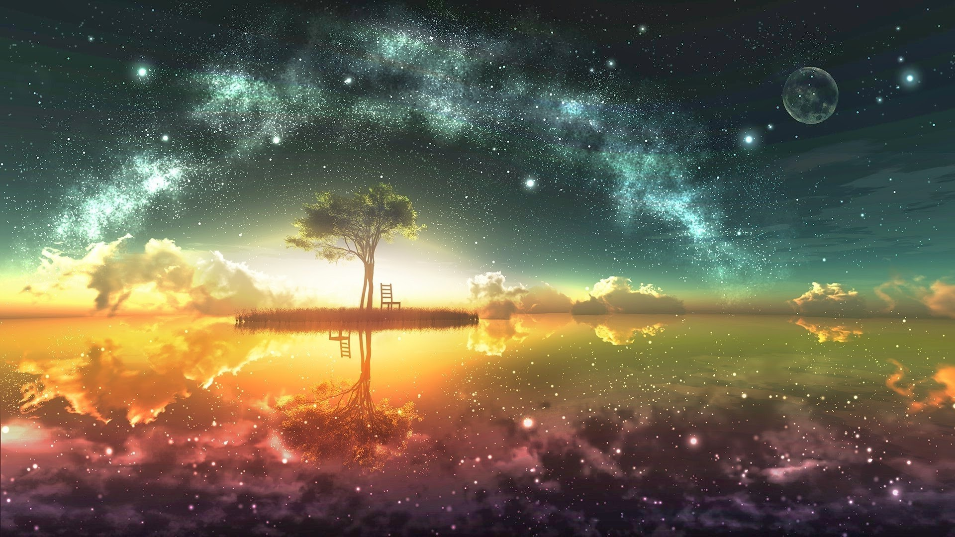 digital Art, Fantasy Art, Trees, Space, Space Art, Stars Wallpapers HD /  Desktop and Mobile Backgrounds