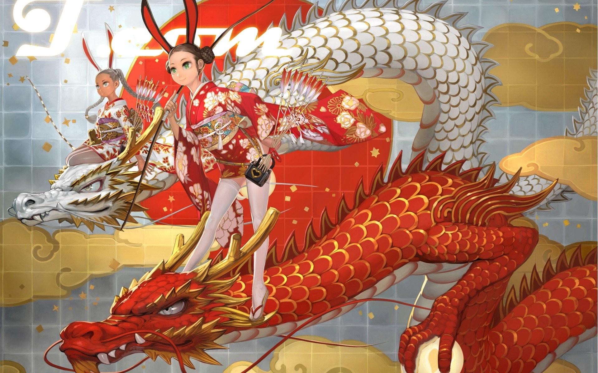 Dragons dress thigh highs artwork bunny ears yukata Japanese clothes anime  girls wallpaper     290046   WallpaperUP