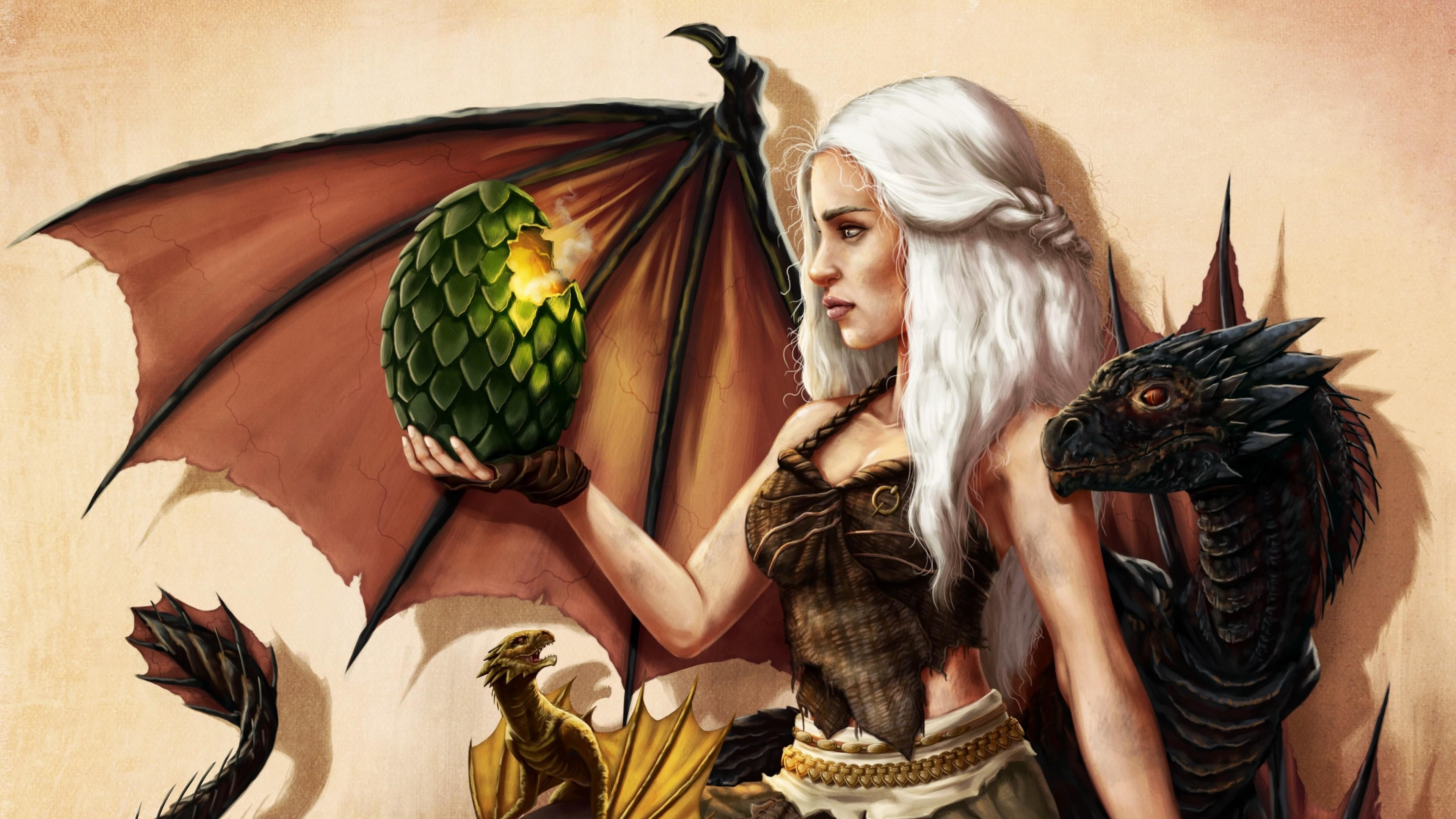 Preview wallpaper game of thrones, art, emilia clarke, daenerys targaryen  3840×2160