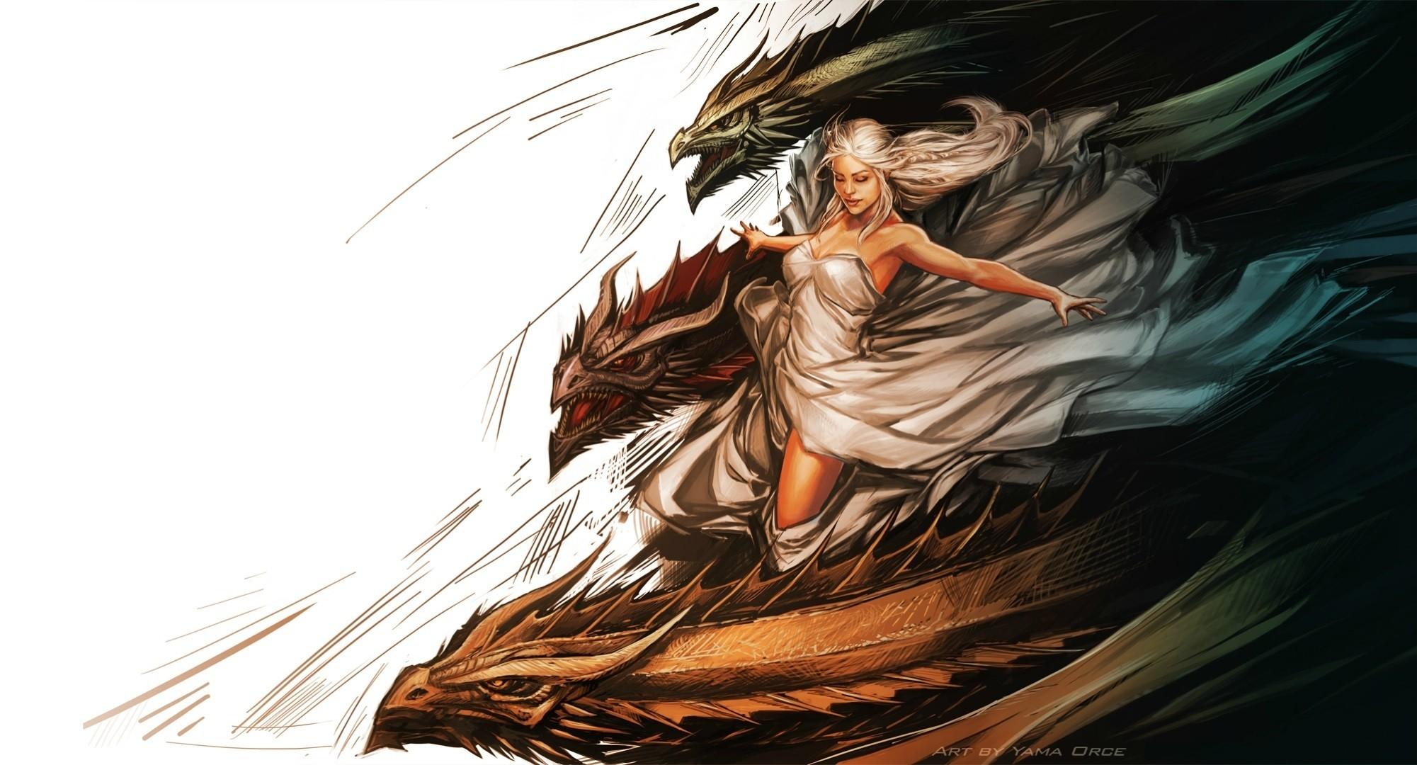 Game of thrones Daenerys Targaryen painting art dragons dragon fantasy .
