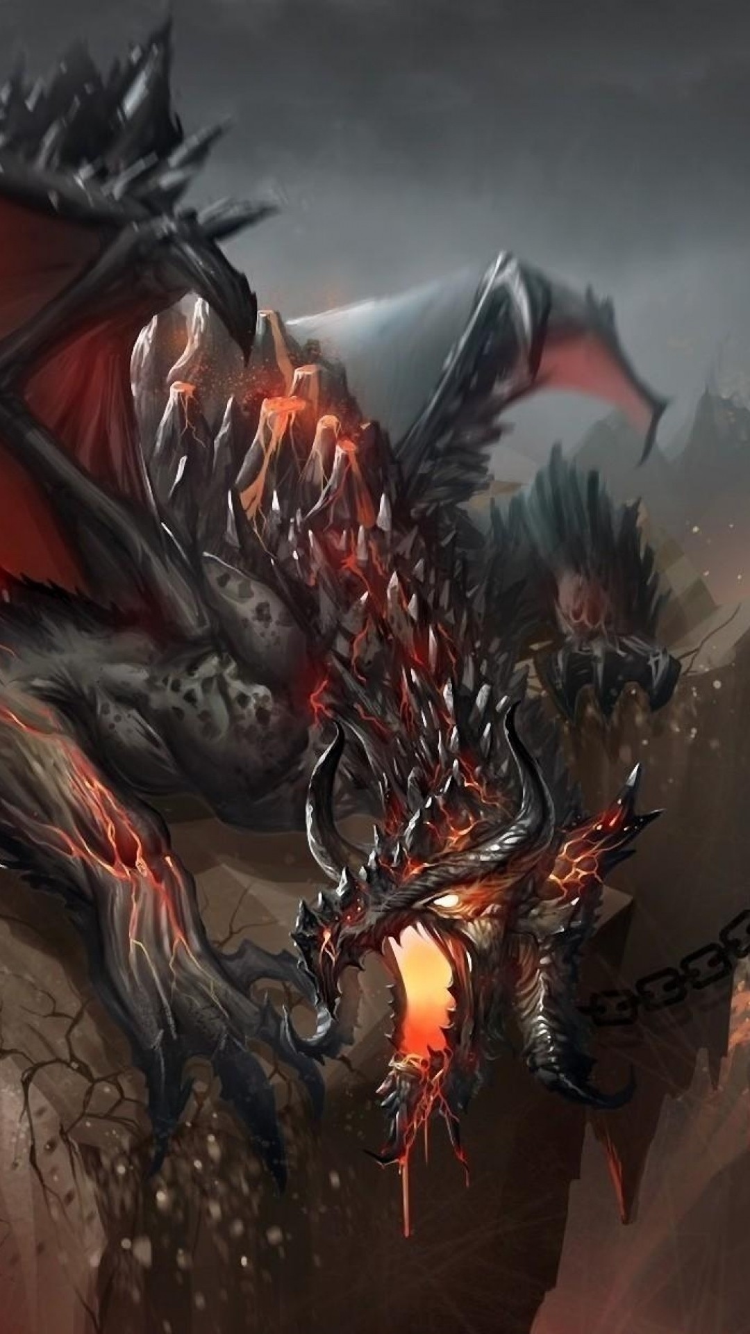 Preview wallpaper dragon, jaws, chains, stone, shatter 1080×1920