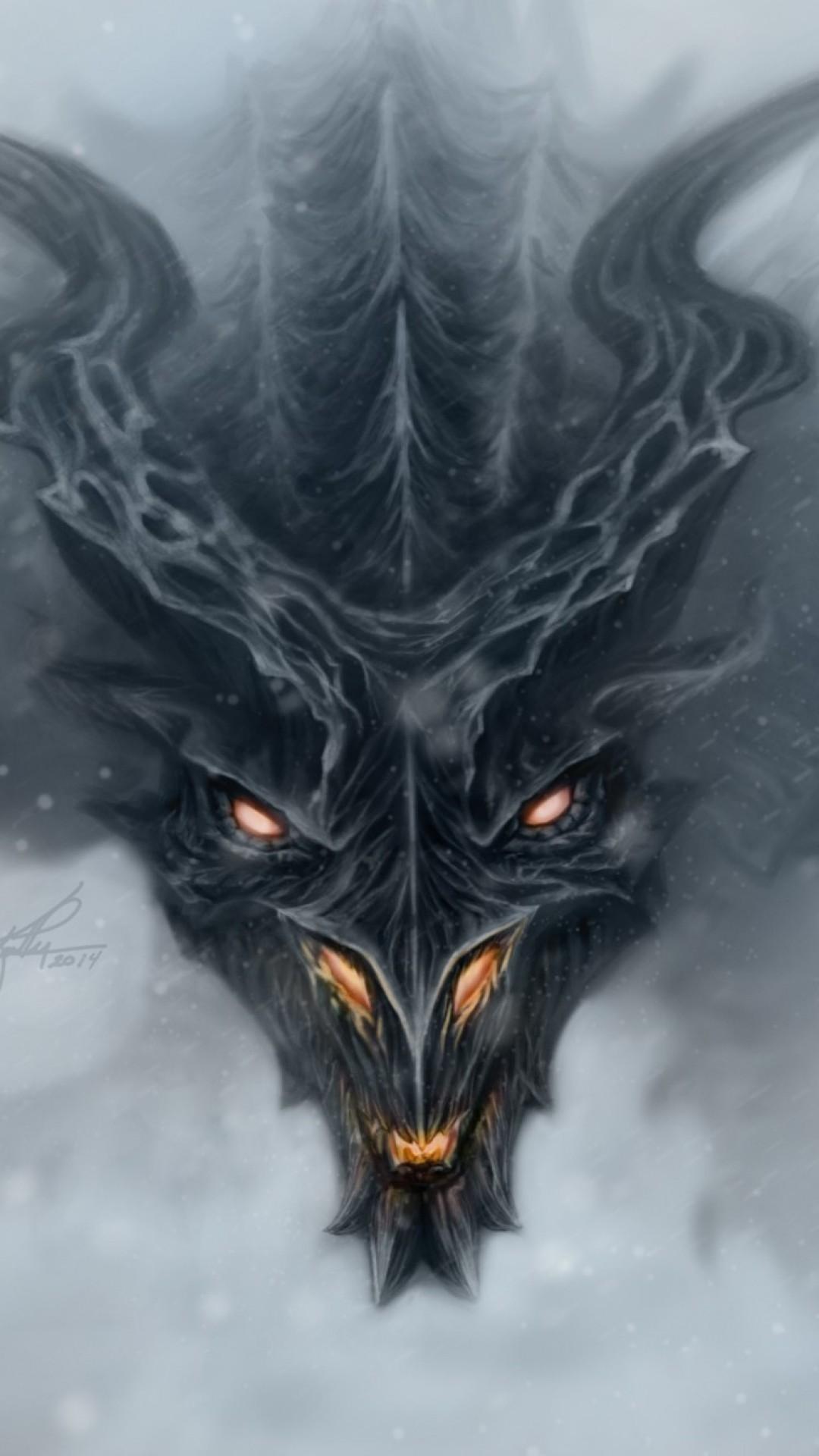 Wallpaper dragon, alduin, skyrim, art