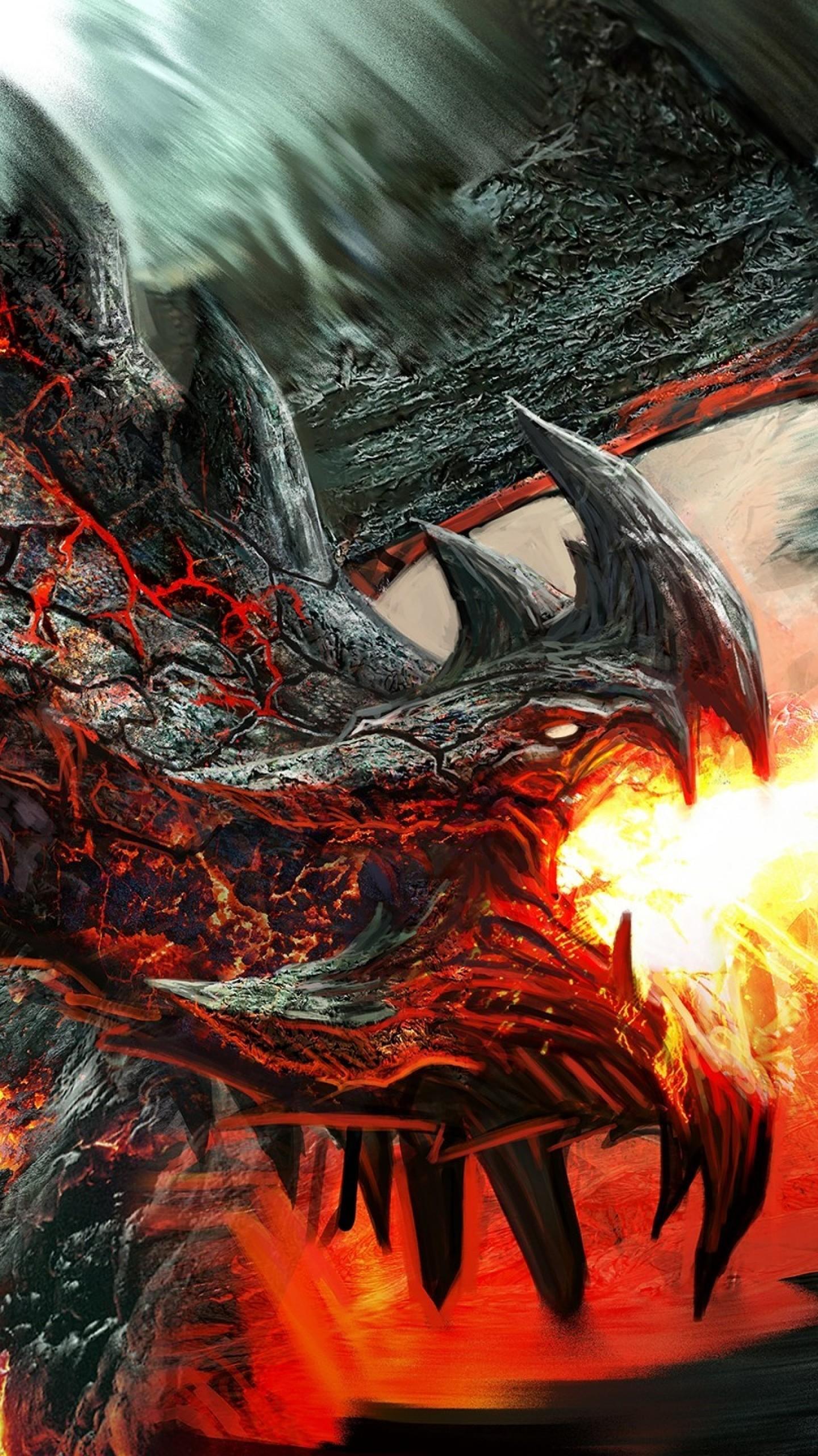 Wallpaper dragon, fire-breathing, flame, art