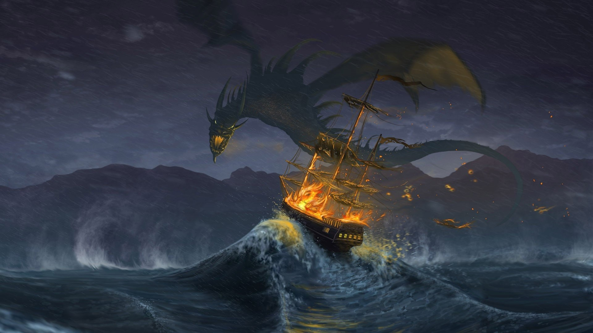Dragon Attacking The Ship …