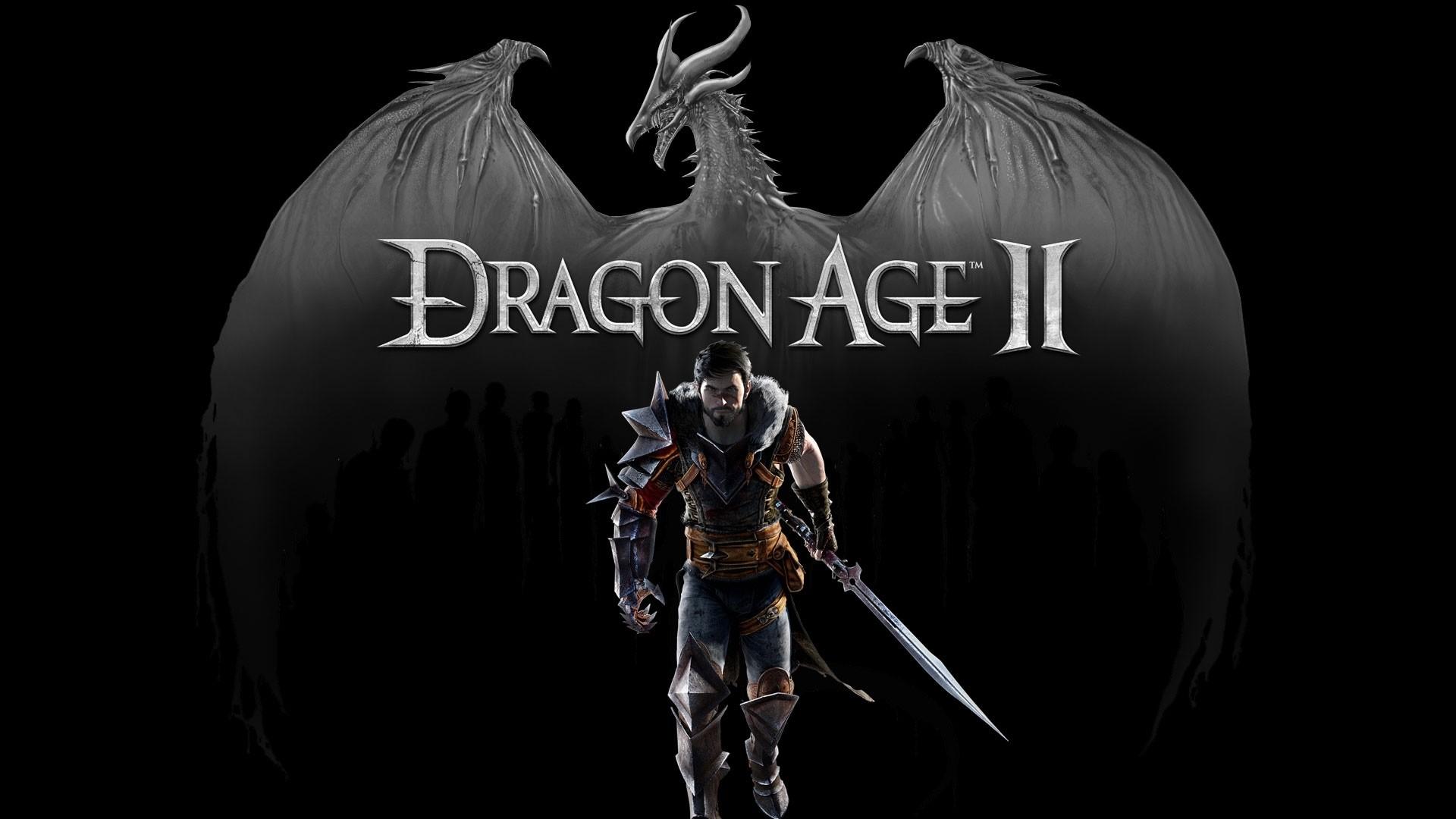 Wallpaper dragon age 2, dragon, warrior, hawke, sword