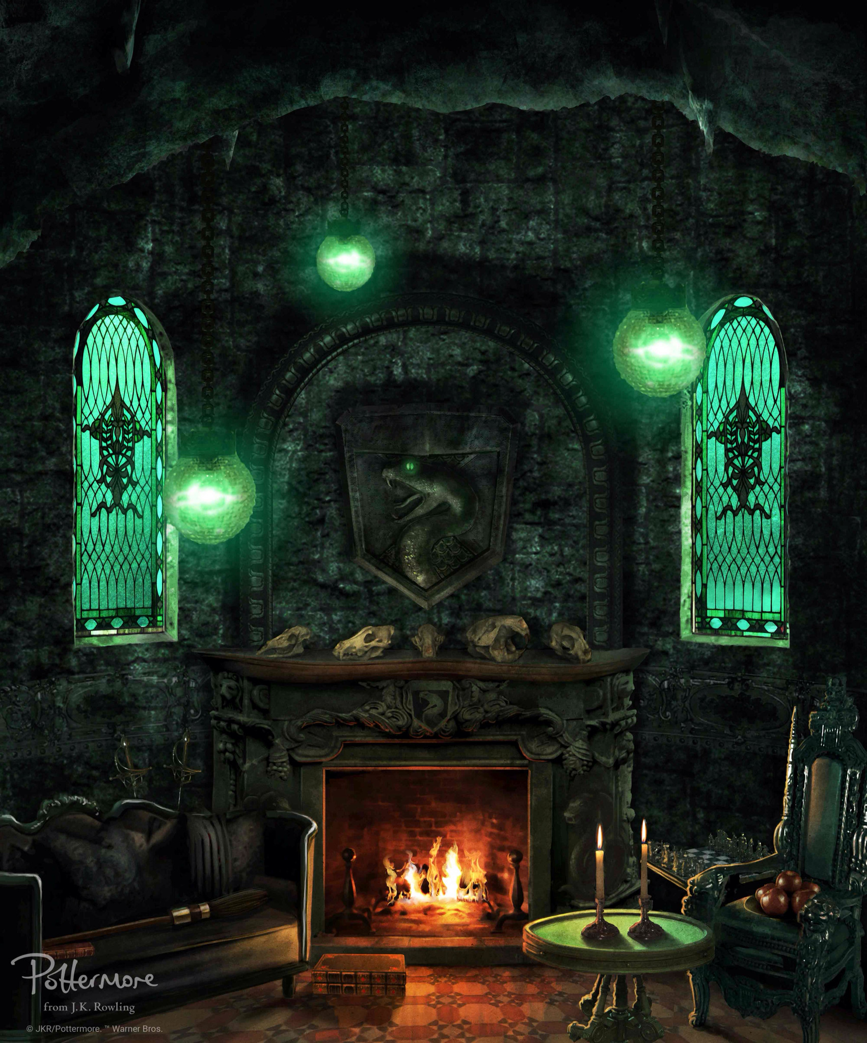 Harry potter · Official slytherin house common room wallpaper
