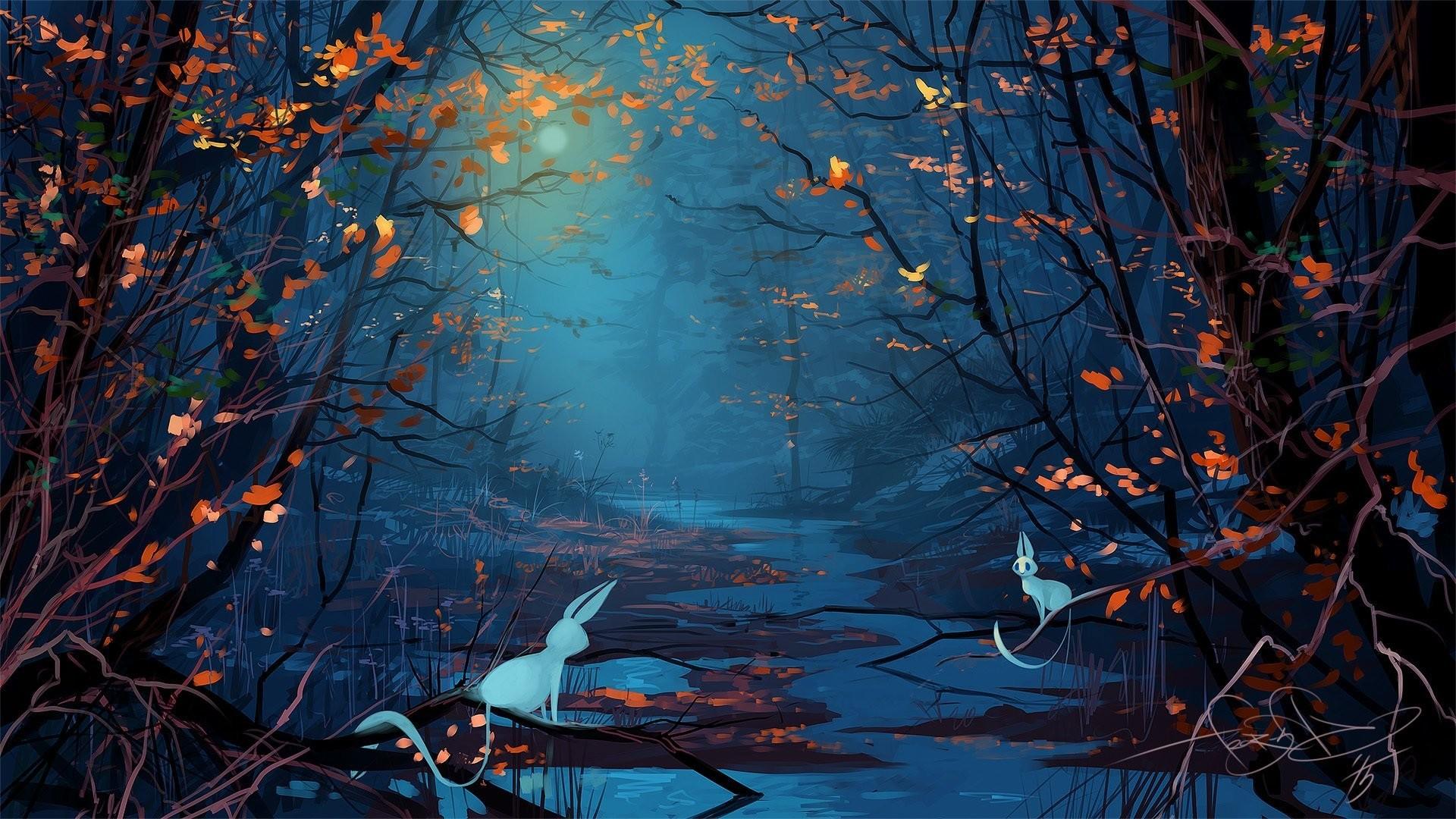 fantasy forest tree animals night moon art