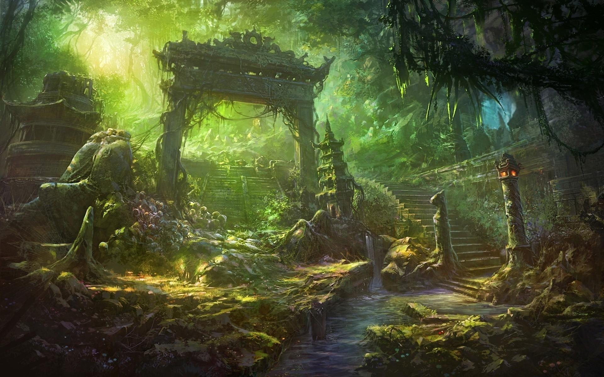 Anime Fantasy Forest Landscape Wallpapers