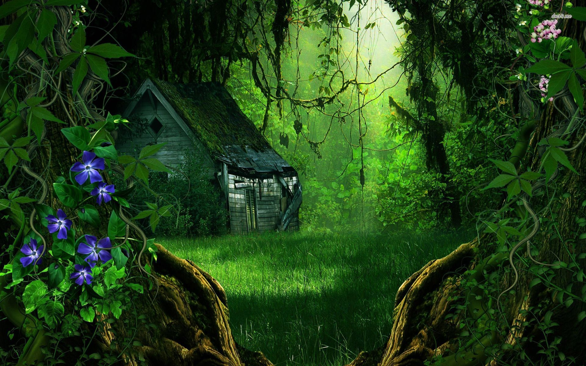 Abandoned house in the forest wallpaper – Fantasy wallpapers – #18774