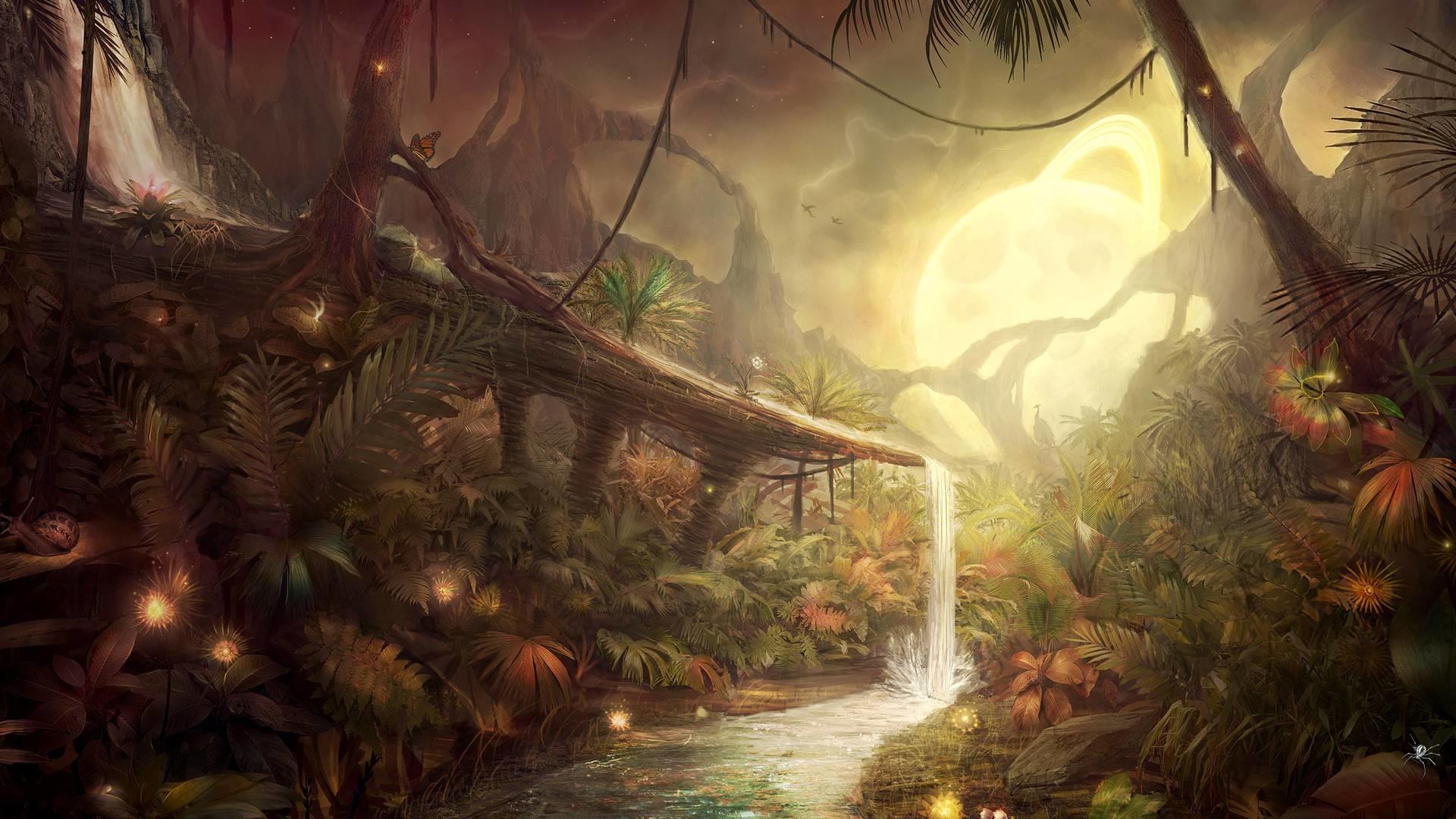 Small waterfall in the fantasy forest wallpaper, Small waterfall in the fantasy  forest Digital Art HD desktop wallpaper