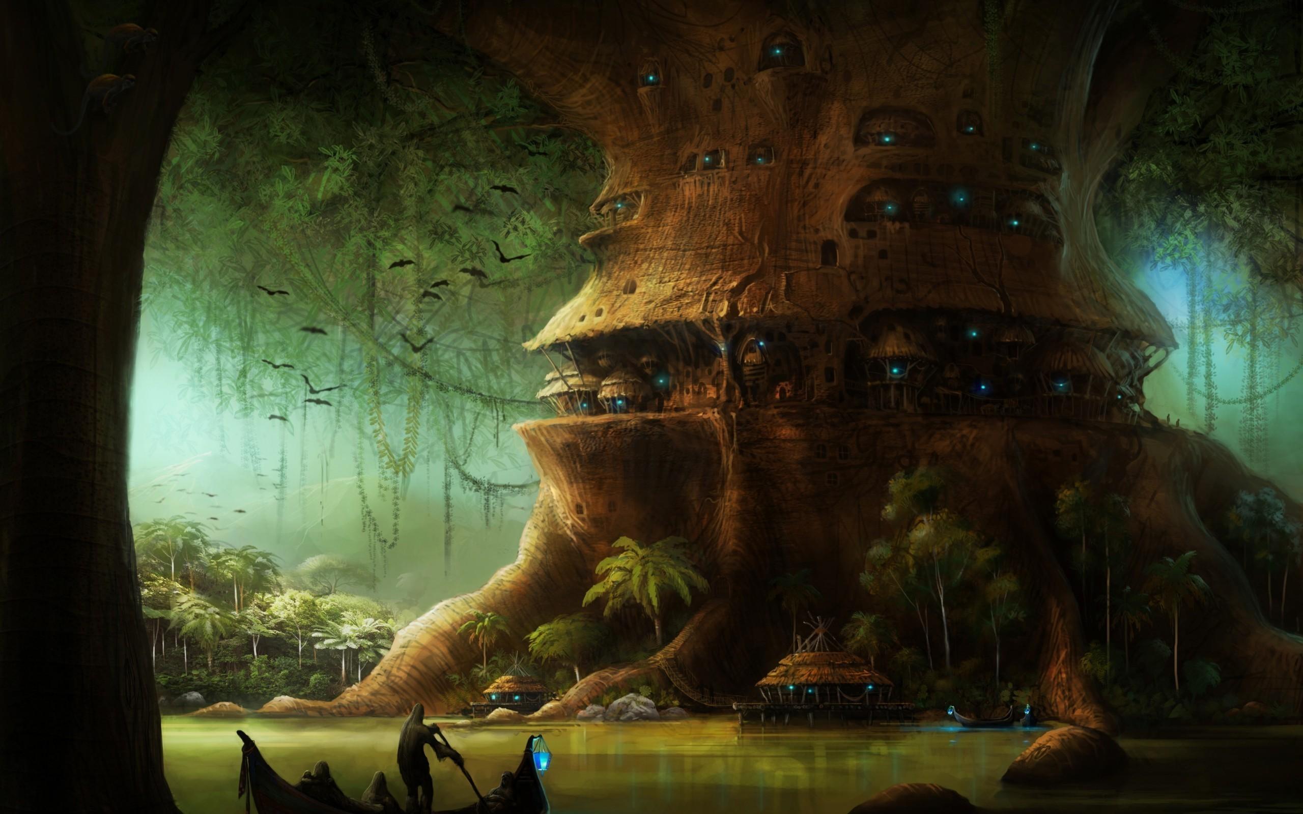 Fantasy City Tree Postnuclear Nuclear Fantasy Wallpaper