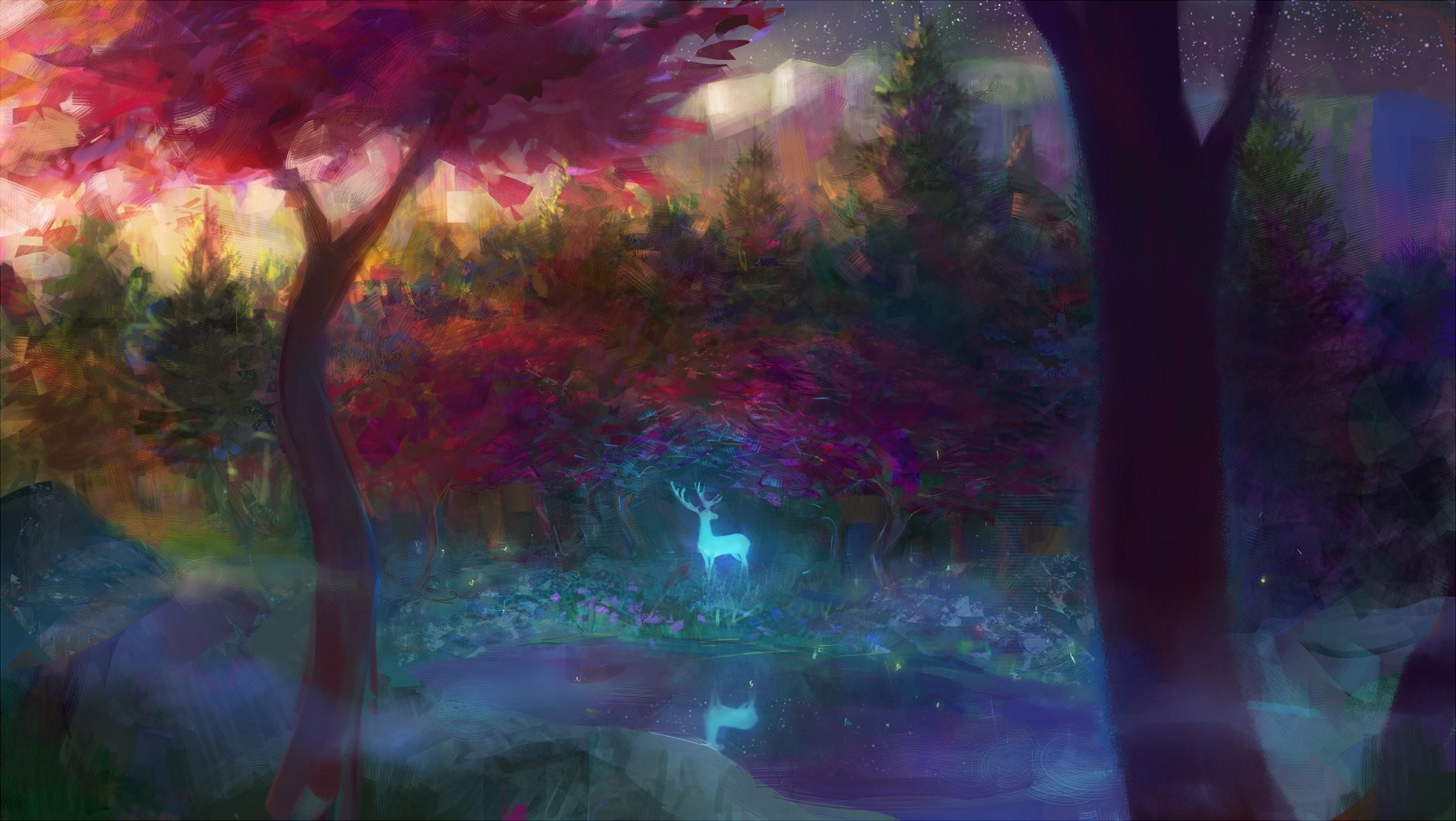 Animal fantasy forest tree (trees) water deer wallpaper | |  618022 | WallpaperUP