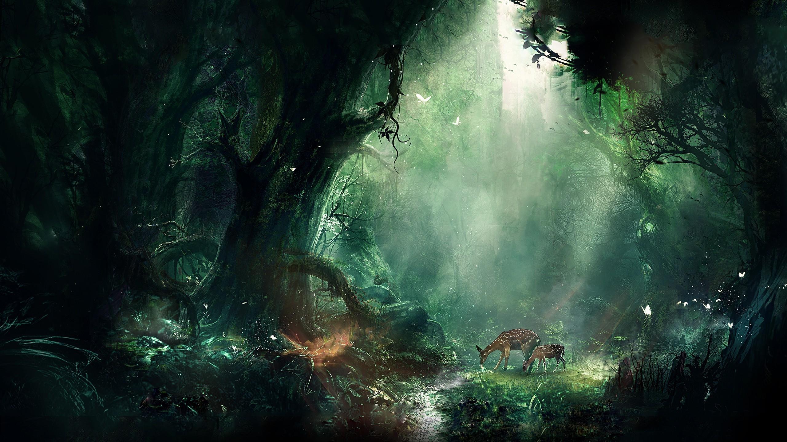 artwork, Digital Art, Fantasy Art, Deer, Forest, Nature Wallpapers HD /  Desktop and Mobile Backgrounds