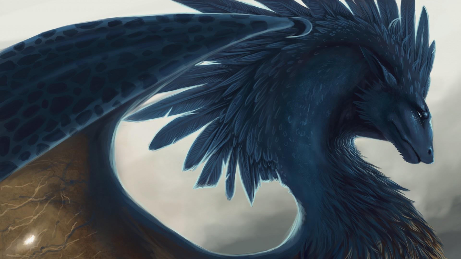 Preview wallpaper dragon, fantasy, art, feathers 1920×1080