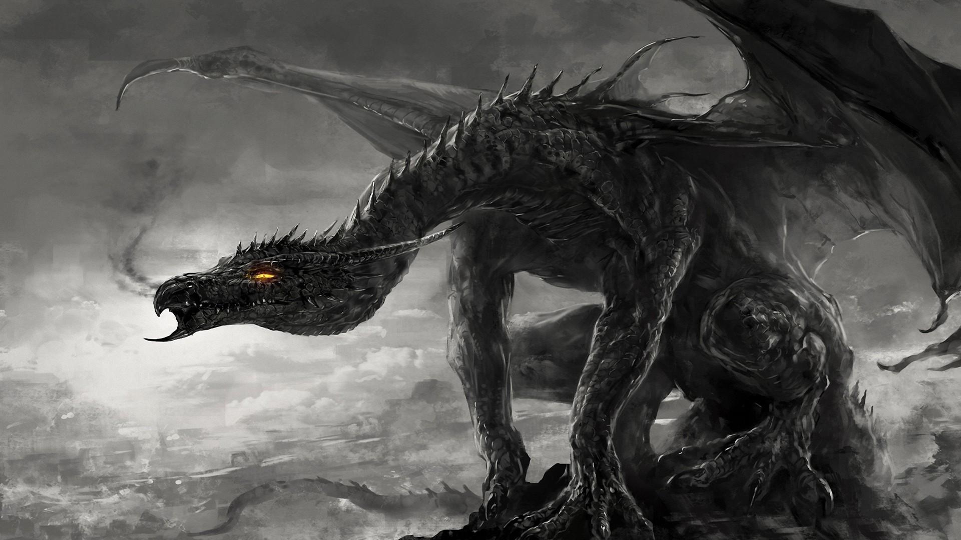 artwork, Dragon, Fire, Black, Dark
