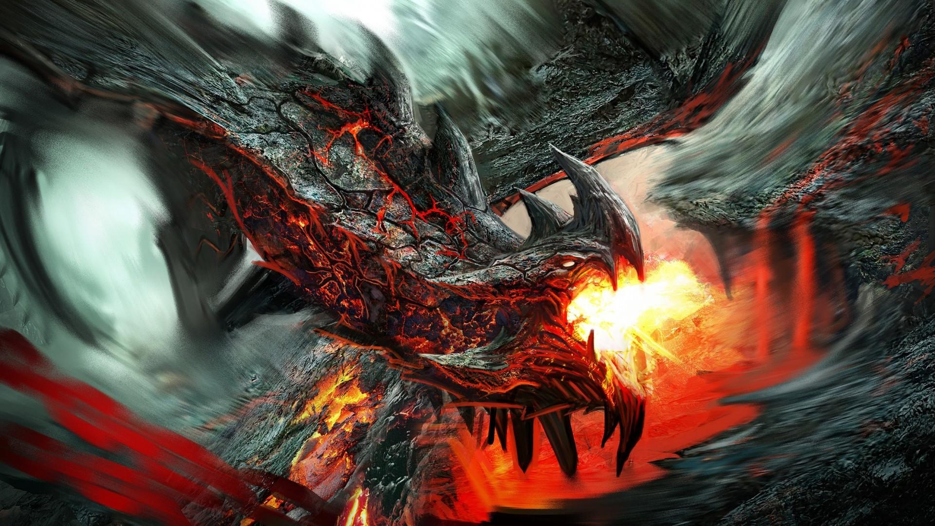 Preview wallpaper dragon, fire-breathing, flame, art 1920×1080