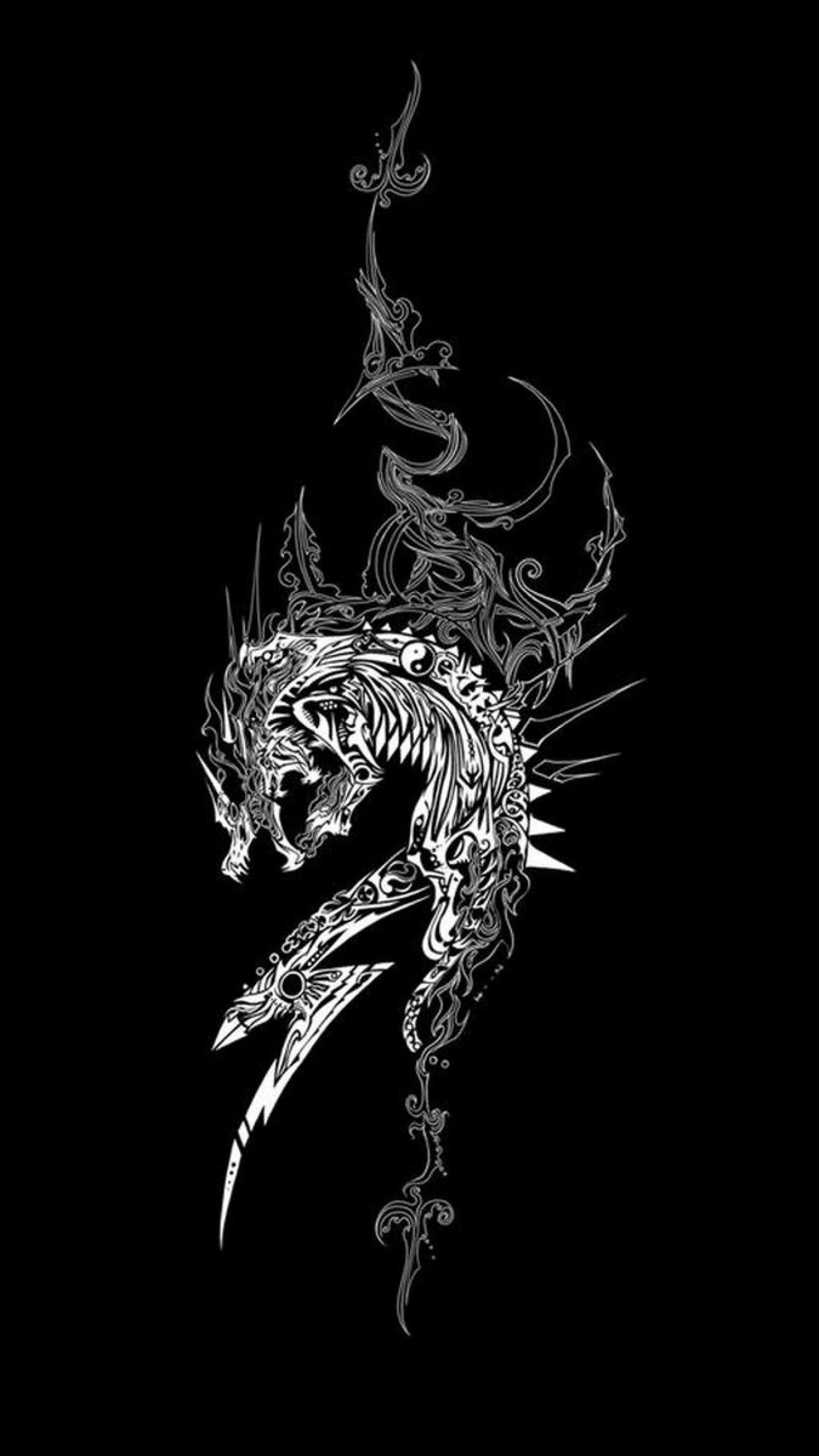 Preview wallpaper dragon, dark background, patterns 1440×2560