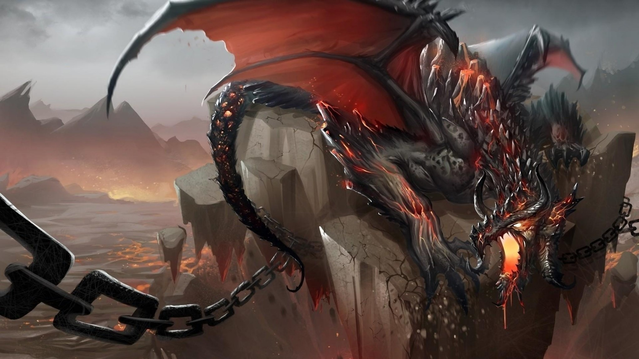 Preview wallpaper dragon, jaws, chains, stone, shatter 2048×1152