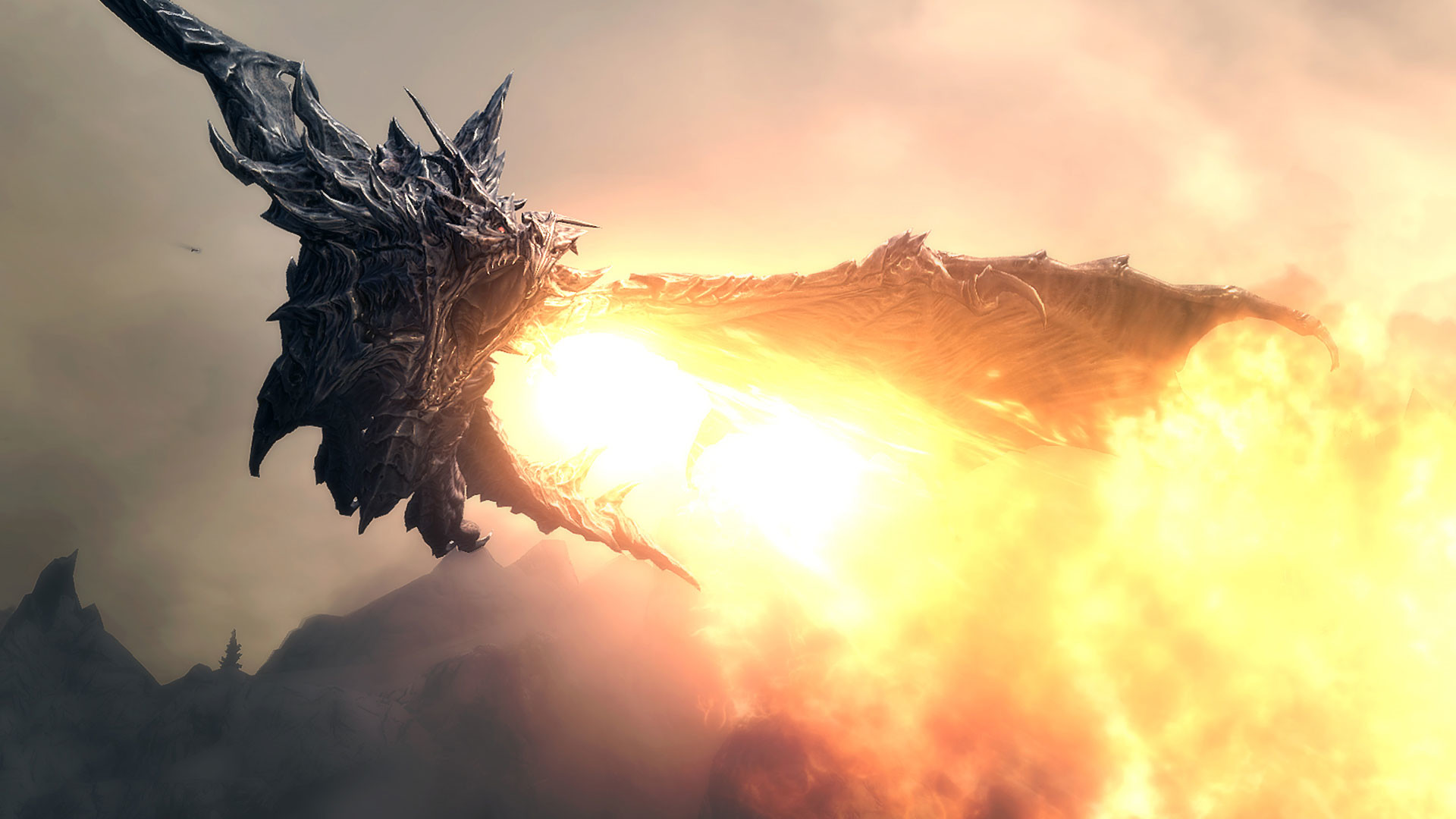 sunset skyrim dragon image