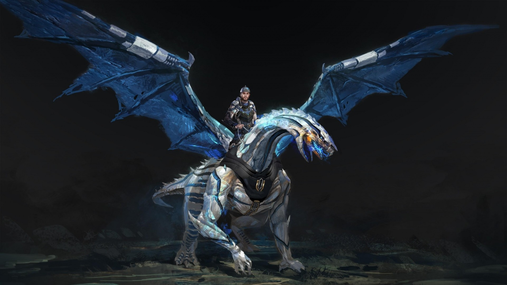 Preview wallpaper dragon, rider, wings, stones 1920×1080