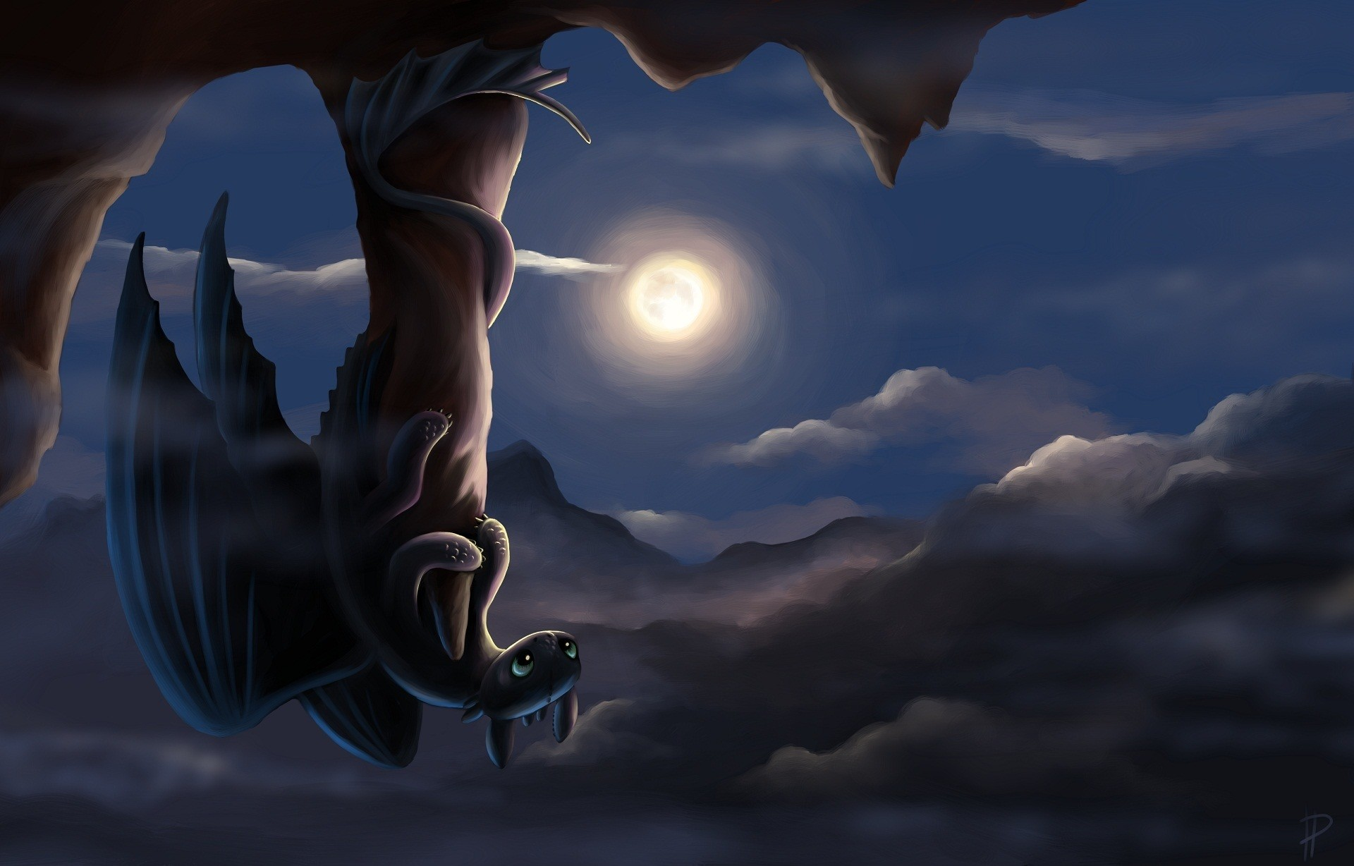 Picture How to Train Your Dragon Dragons Moon Night time
