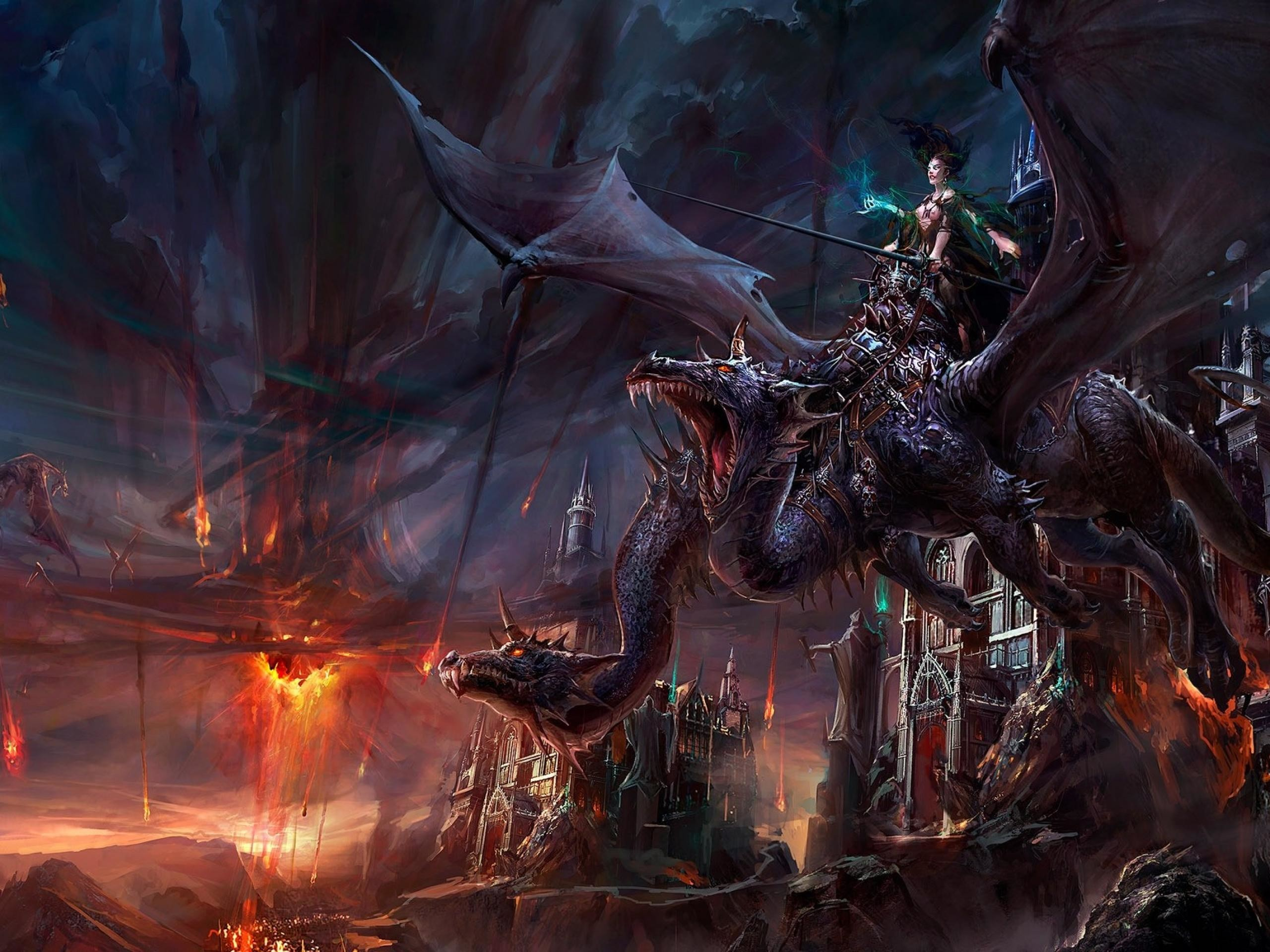 This fantasy wallpaper shows a world where warriors ride dragons and battle  it out in the sky. This dragon also seems like a beast that would only rise  on …