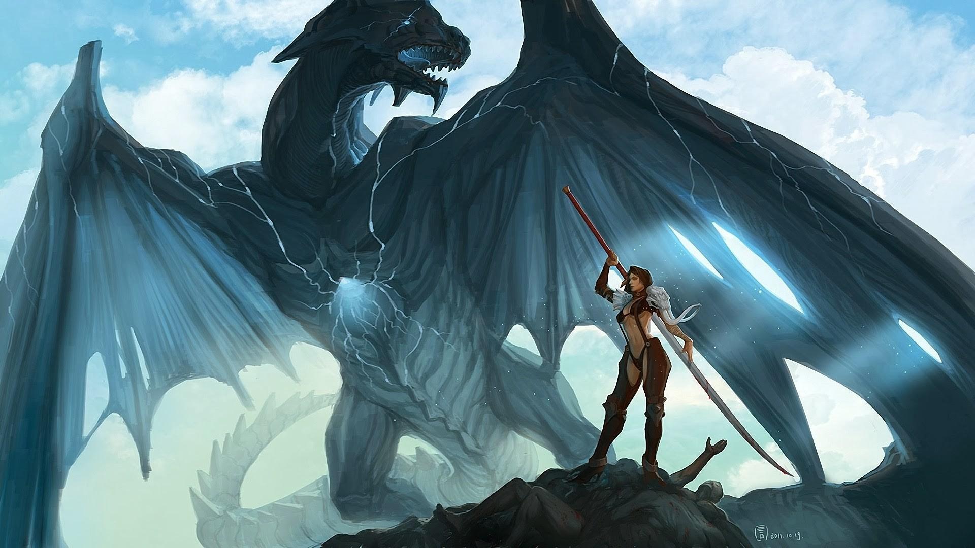 dragon fantasy warrior girl wallpaper hd a691.