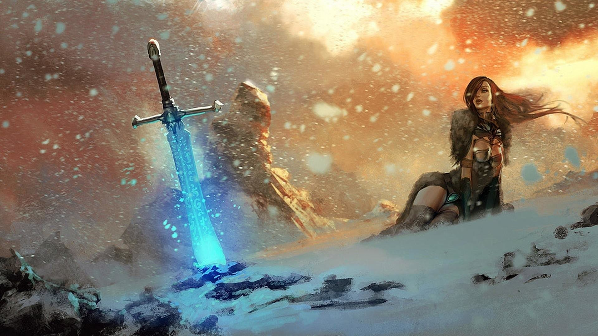 … fantasy art magic mountain female sword wallpaper digitalart io …