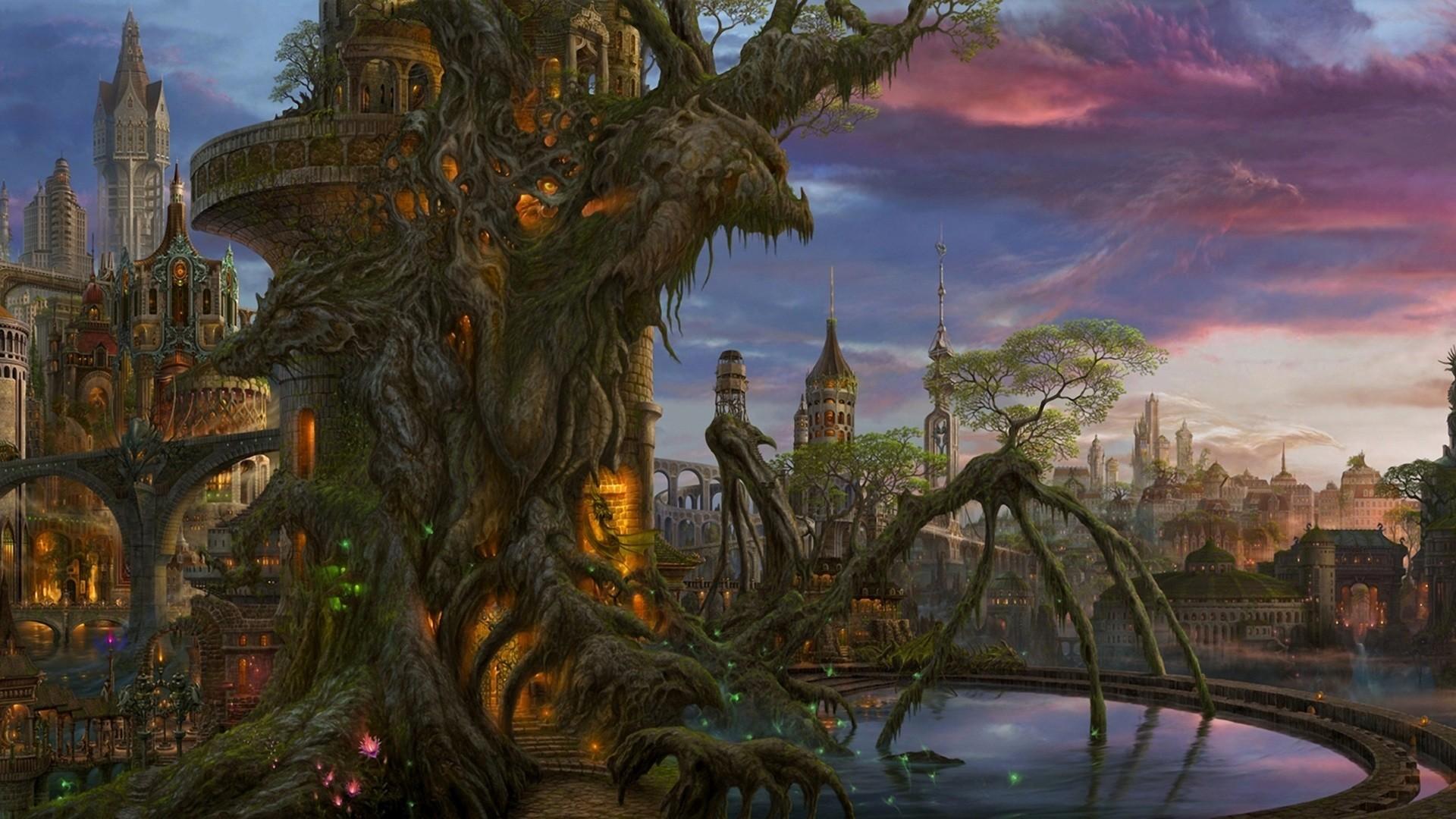 Fantasy – City Building Castle Artistic Wallpaper