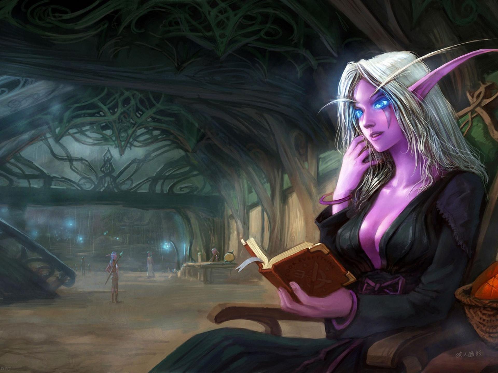 Nightelf Art Yao Ren World Of Warcraft Night Elf Reading Room Fantasy Close  Wallpapers Resolution : Filesize : kB, Added on January Tagged : nightelf