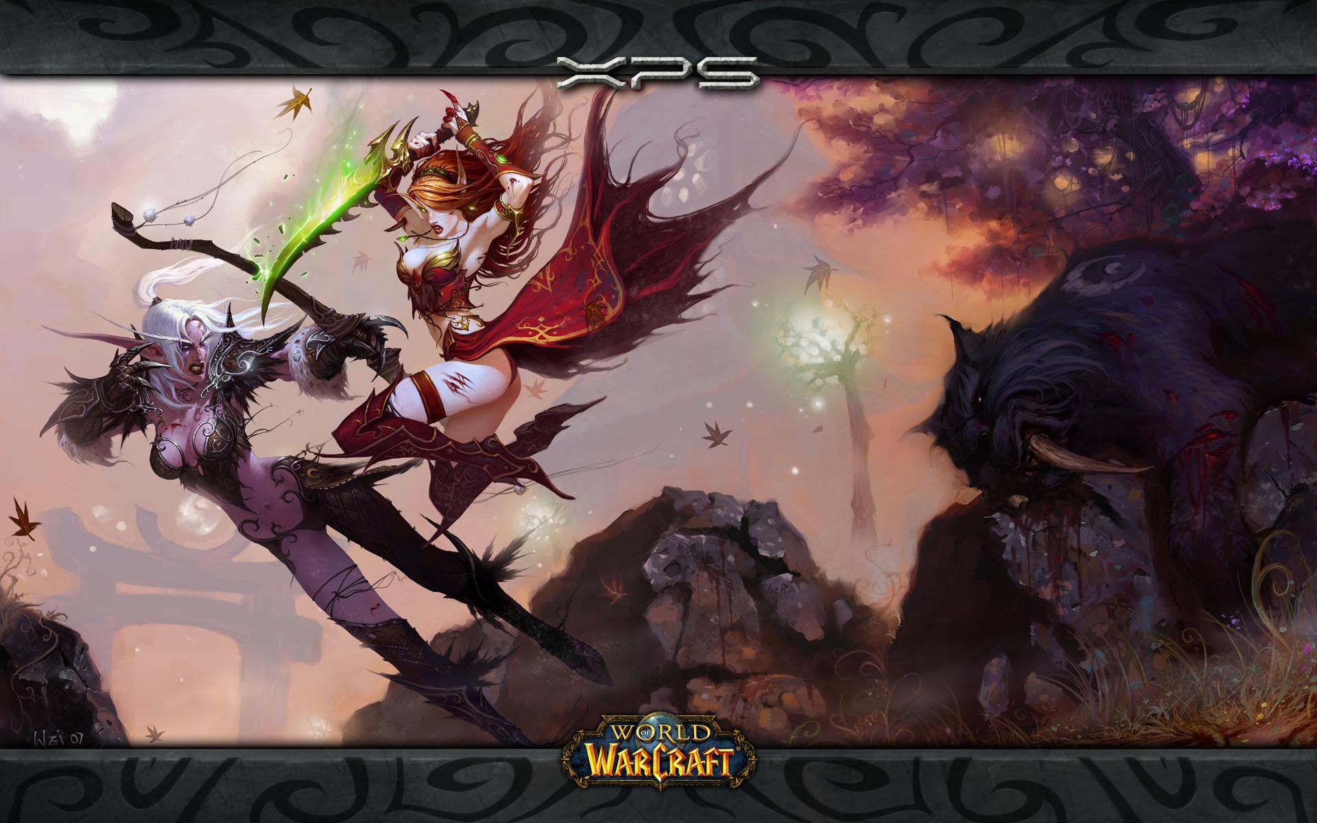 Sexy Elven Girls Wallpaper | Epic Blood Elf vs Night Elf Wallpapers