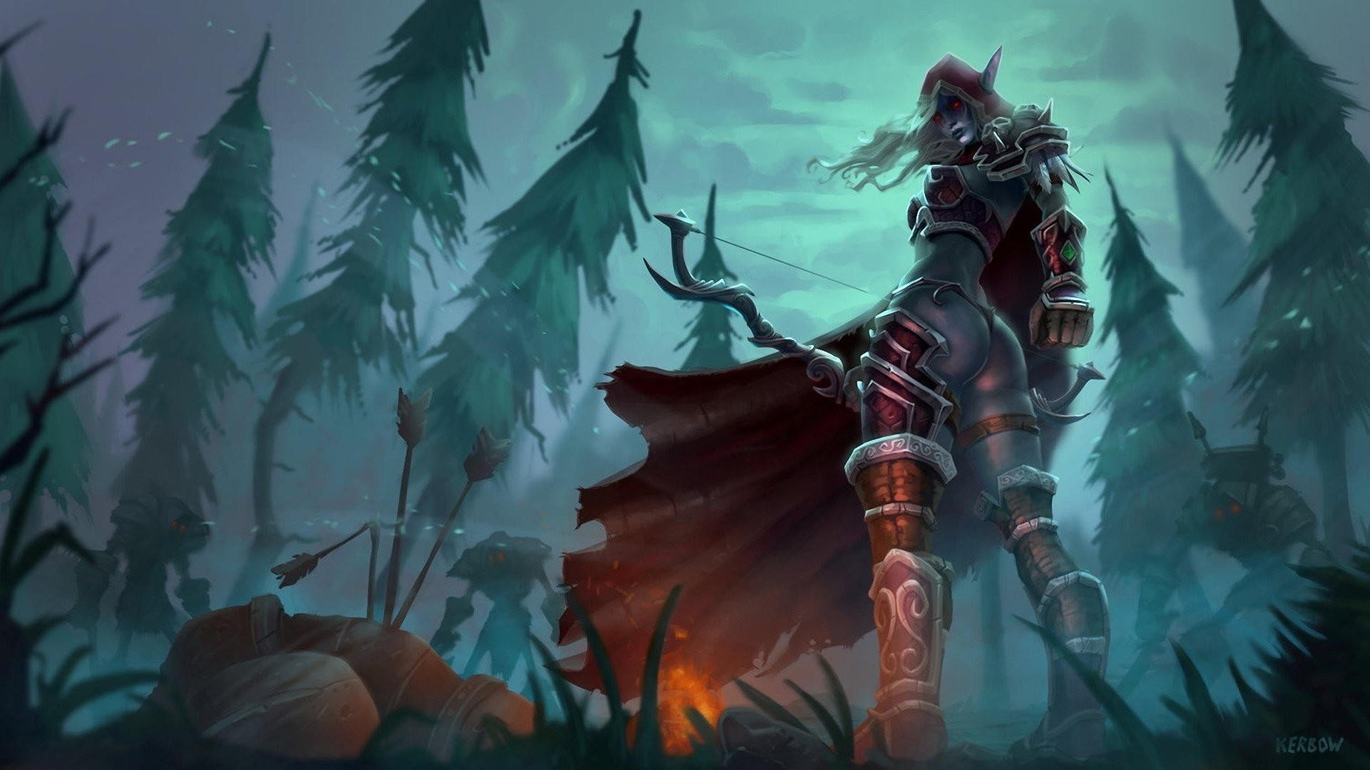 art night girl elf murder torment boom forest fire monsters