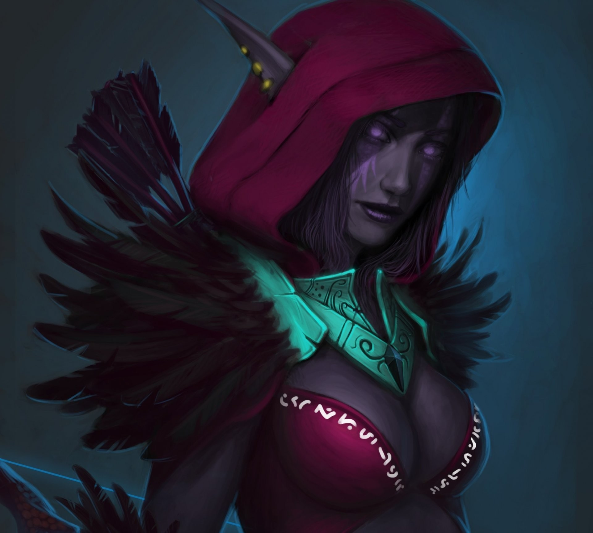 art wow world of warcraft night elf elf hood feathers