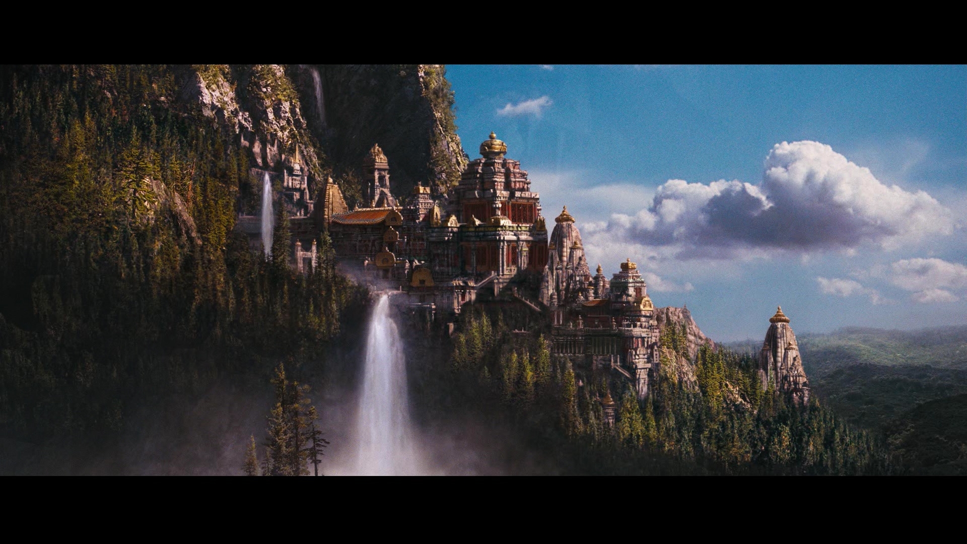 Free Fantasy Castle With Waterfall Background HD Wallpaper