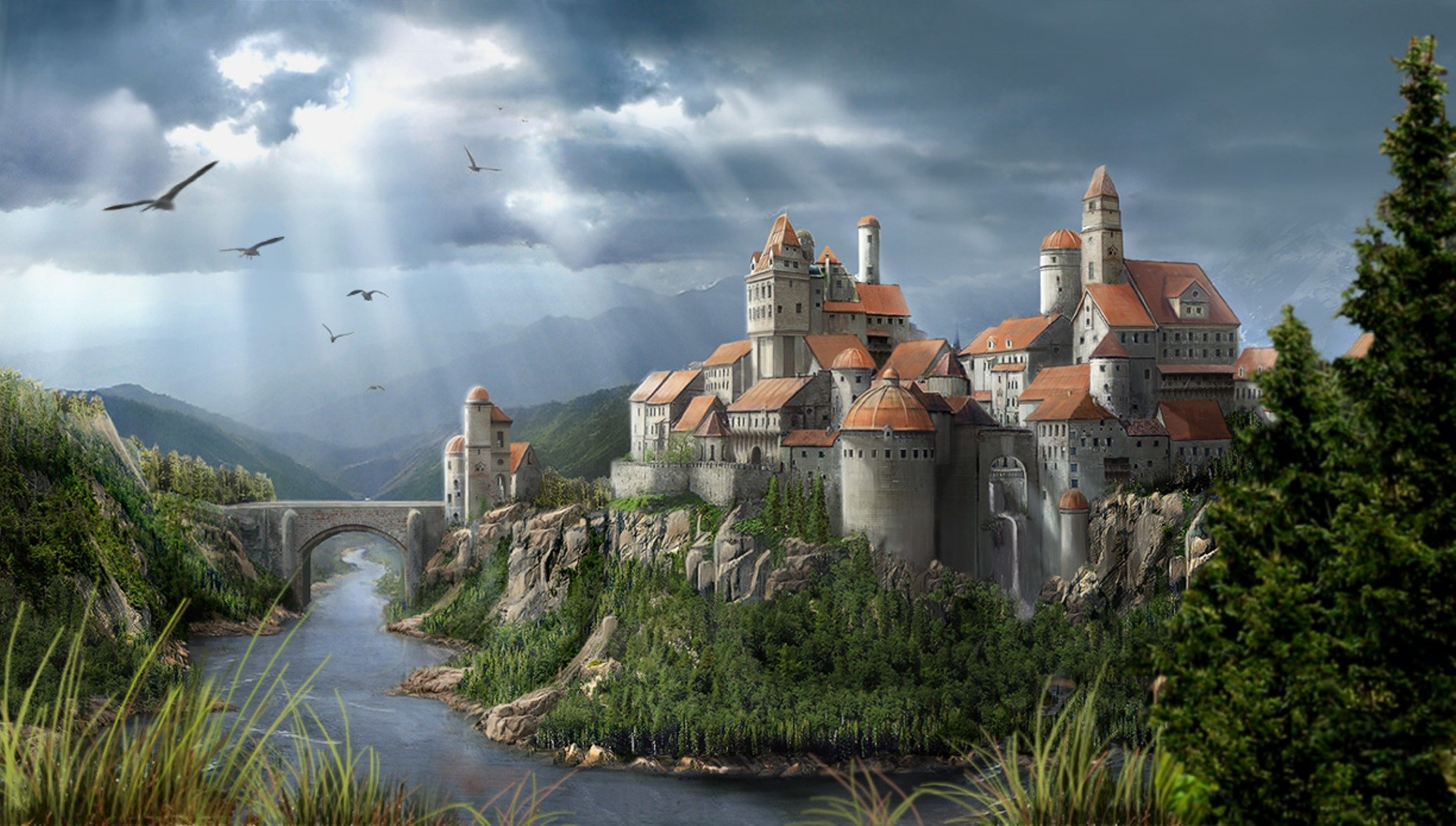 Free desktop wallpapers and backgrounds with Fantasy Castle, abstract,  castle, fantasy.