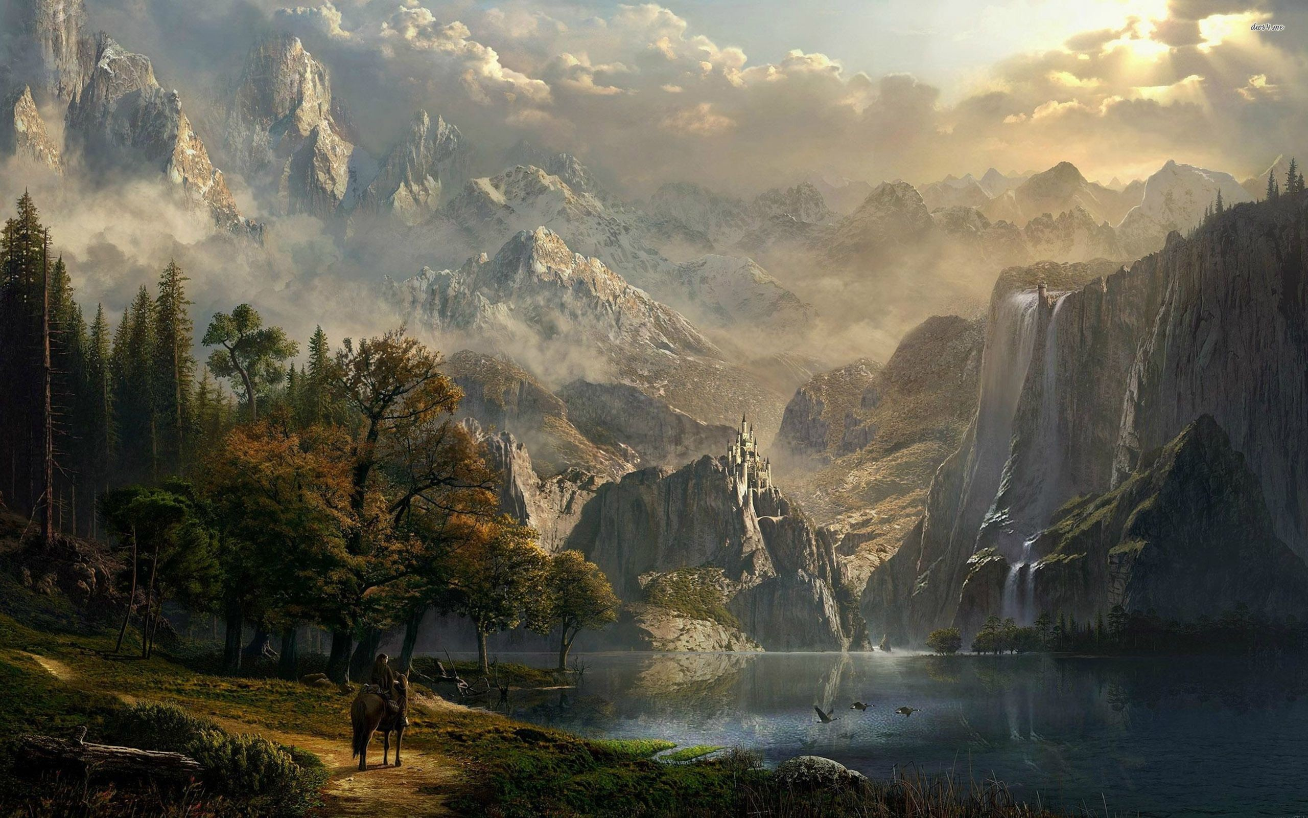 Riding to the castle on the mountain wallpaper – Fantasy .