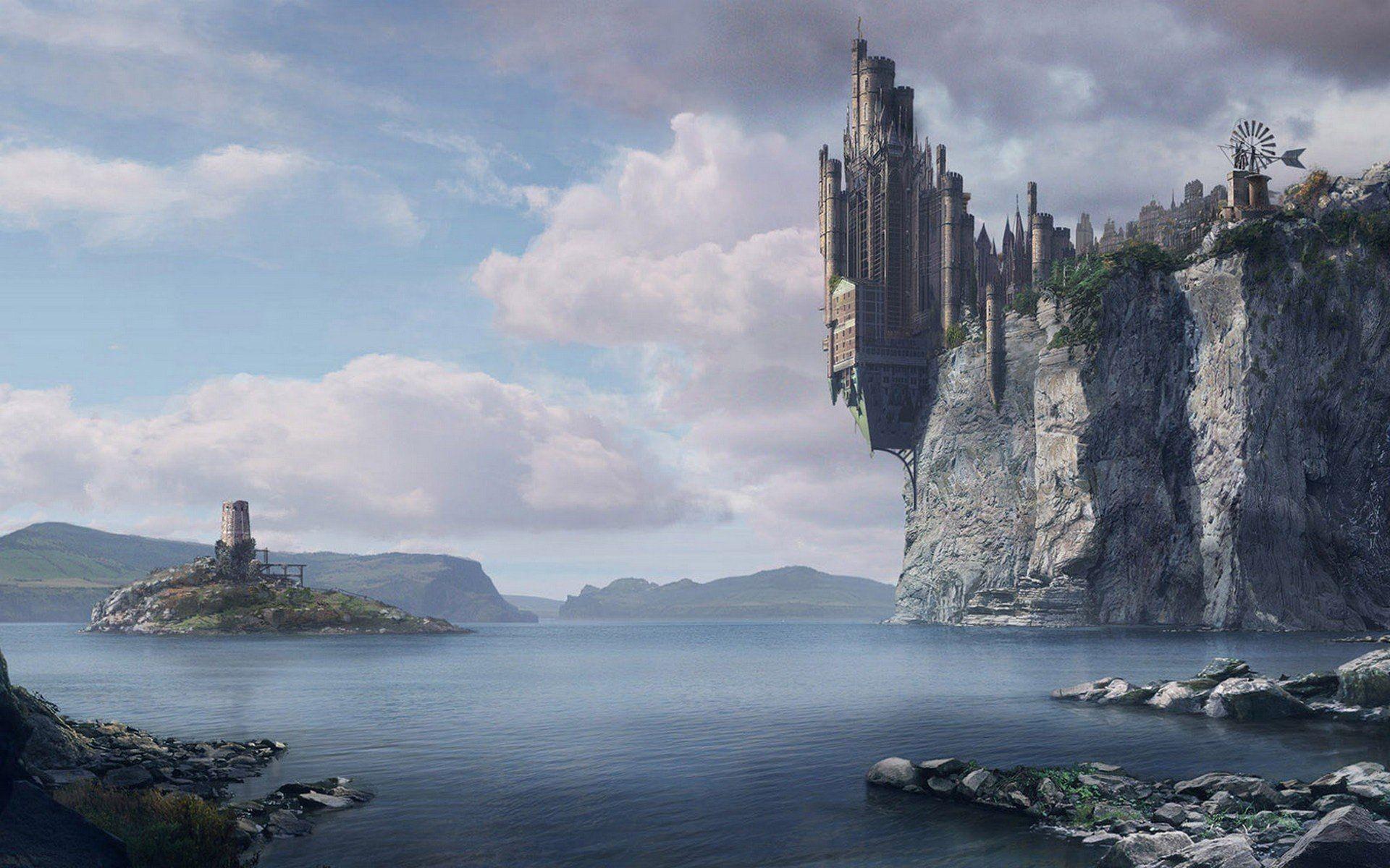 Ocean castles cliffs fantasy art towns artwork wallpaper .