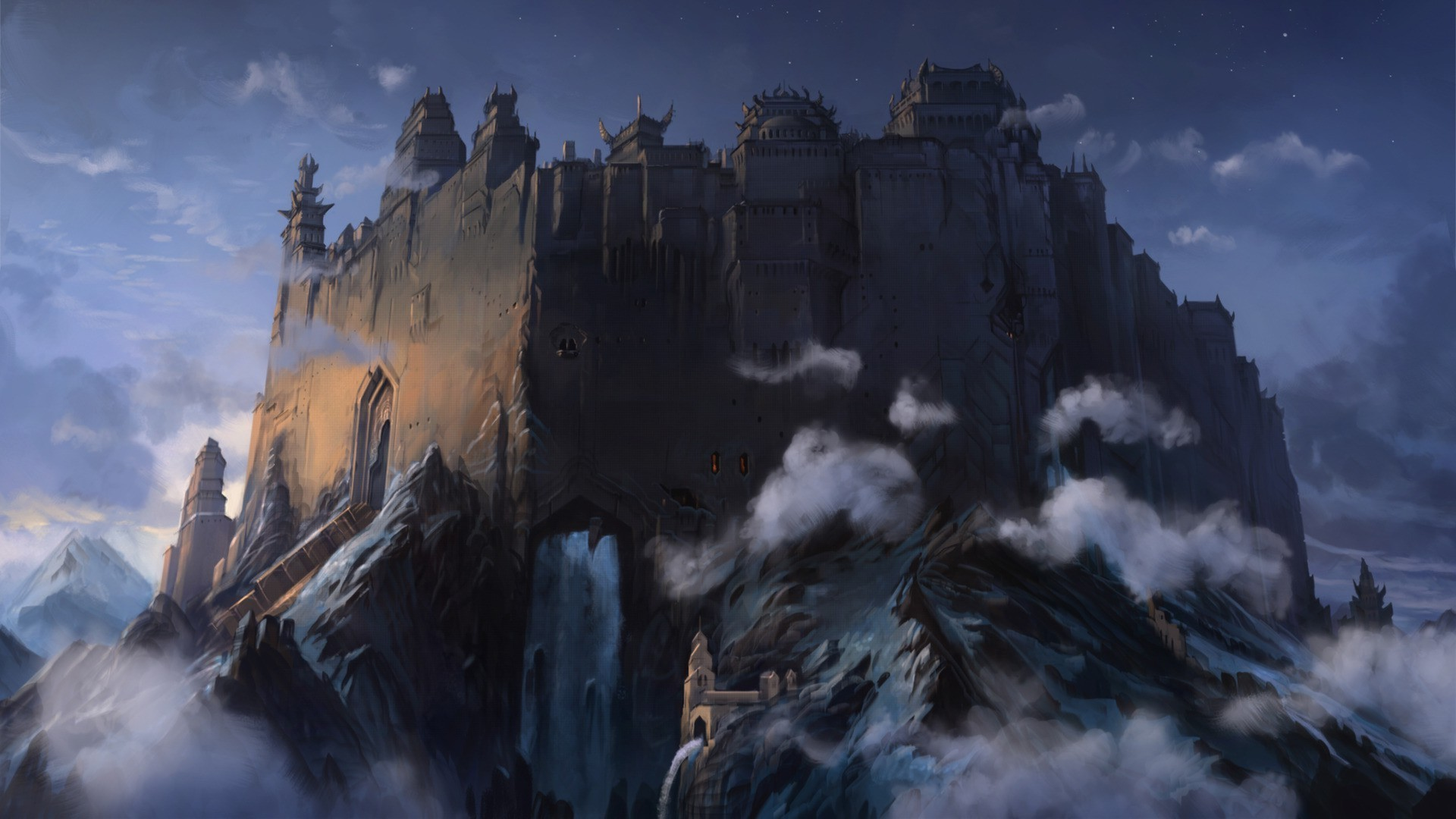 fantasy Art, Artwork, Clouds, Mountain, Forts, Castle Wallpapers HD /  Desktop and Mobile Backgrounds