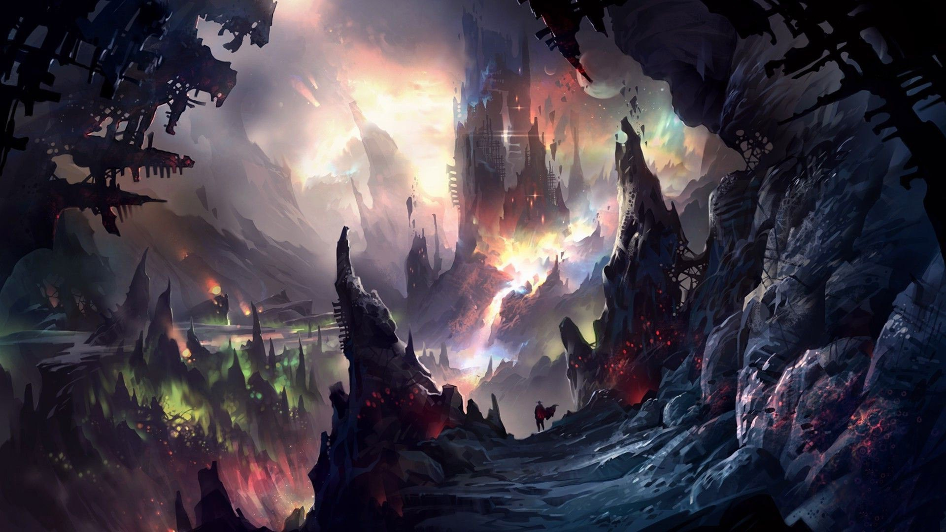 artwork, Fantasy Art, Mountain, Cave, Castle Wallpapers HD / Desktop and  Mobile Backgrounds