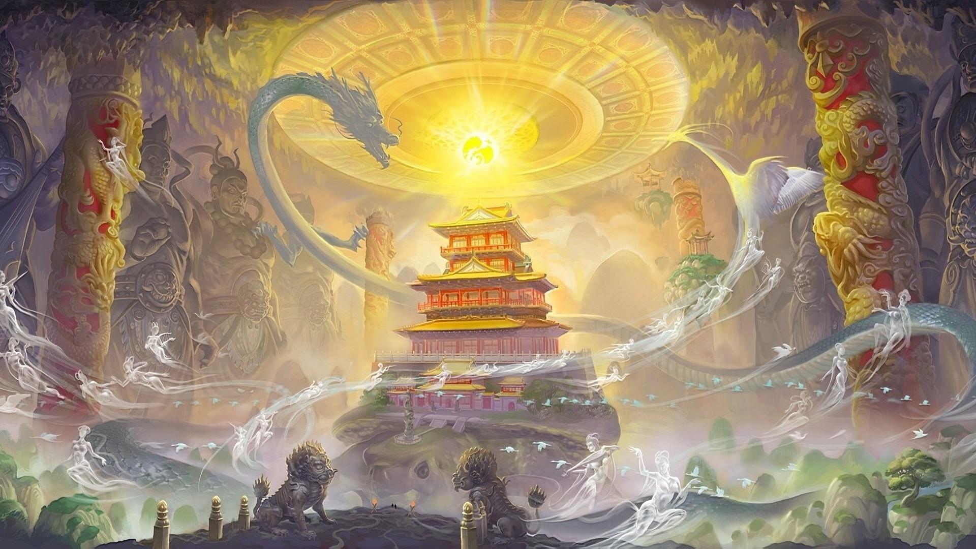 Fantasy dragon asian oriental art castle wallpaper