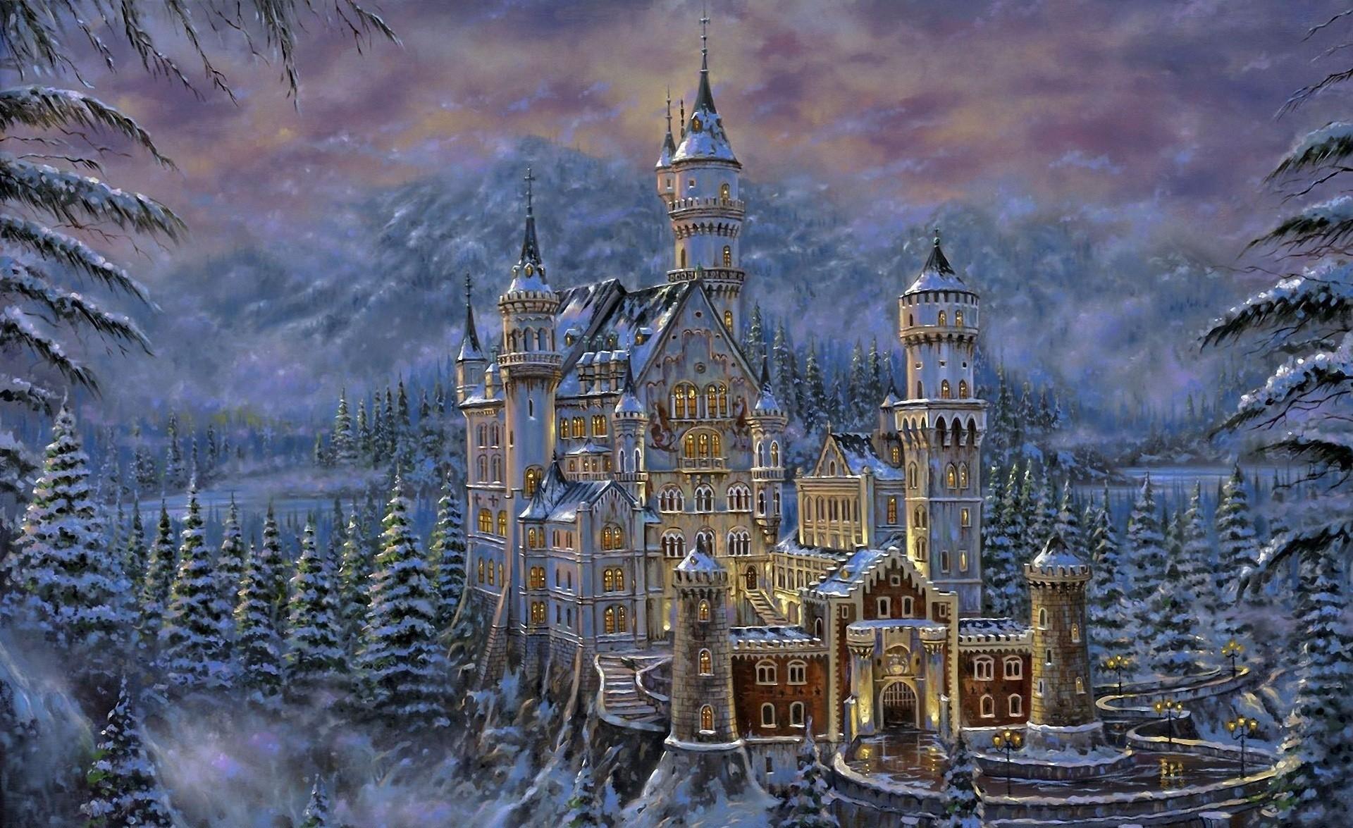 Fantasy – Castle Snow Tree Winter Neuschwanstein Castle Painting Artistic  Wallpaper
